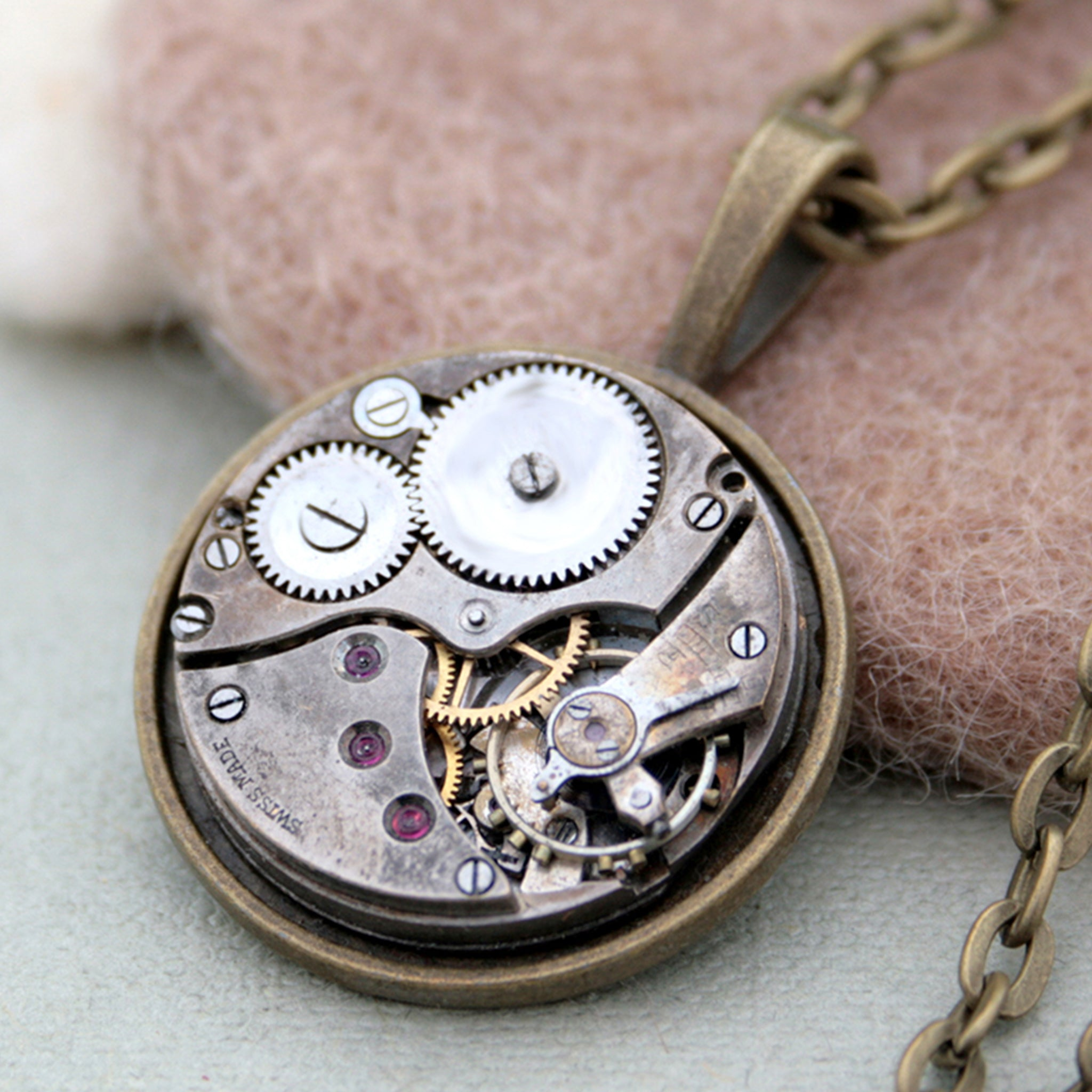 Watch Movement Mens Necklace