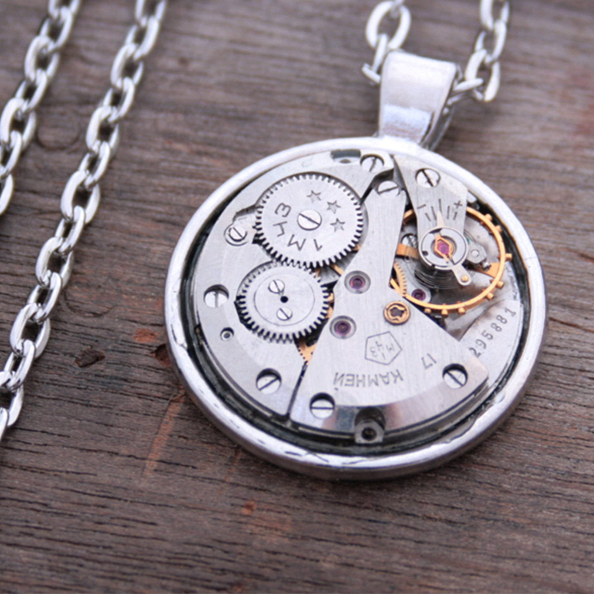 Steampunk Necklace made of watch mechanism