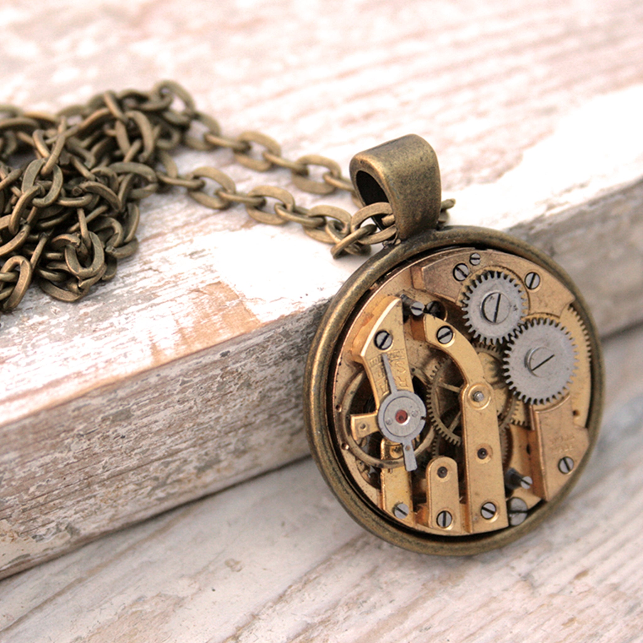 Steampunk Statement Necklace with Gold tone watch movement