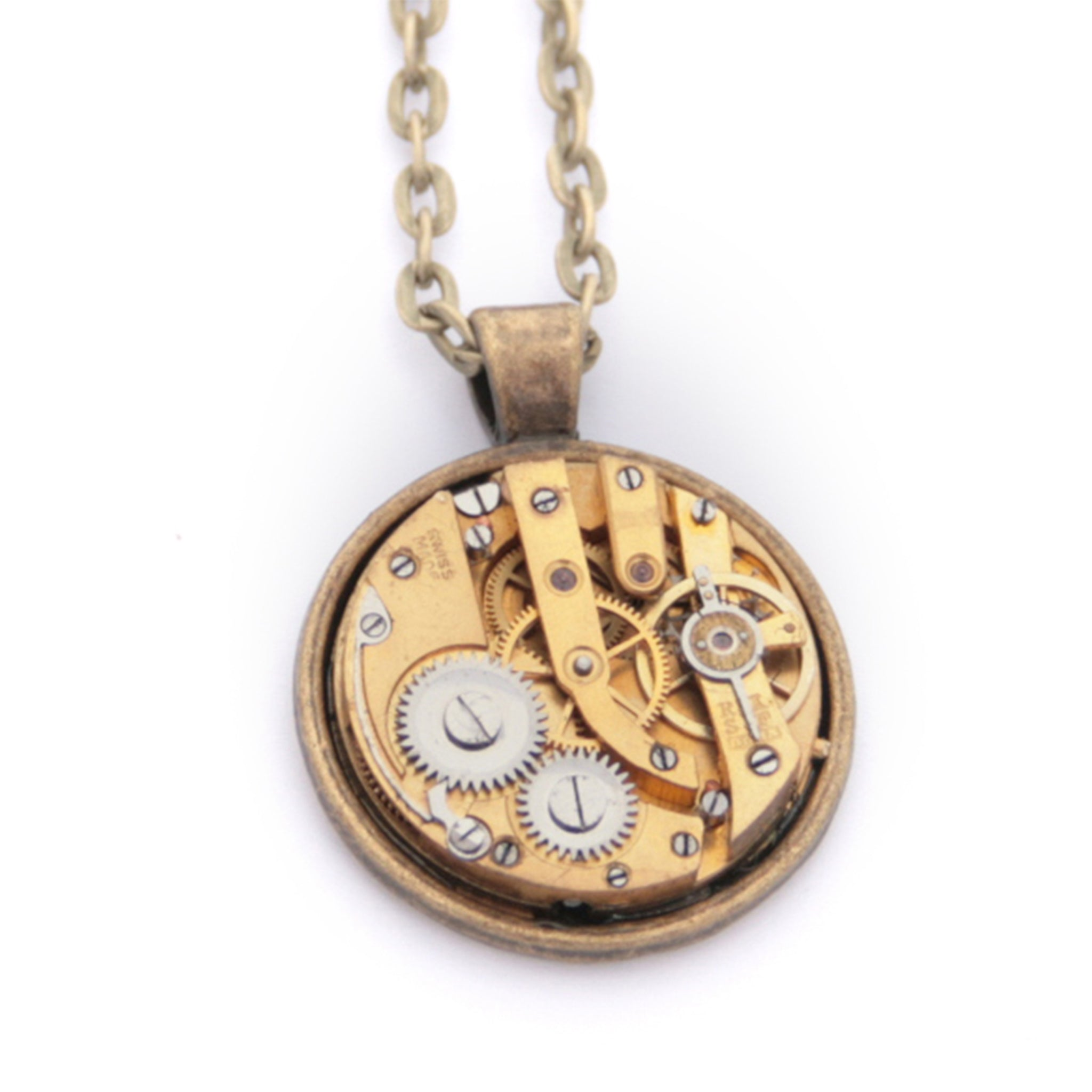 Steampunk Necklace in Gold Tone with gold watch movement