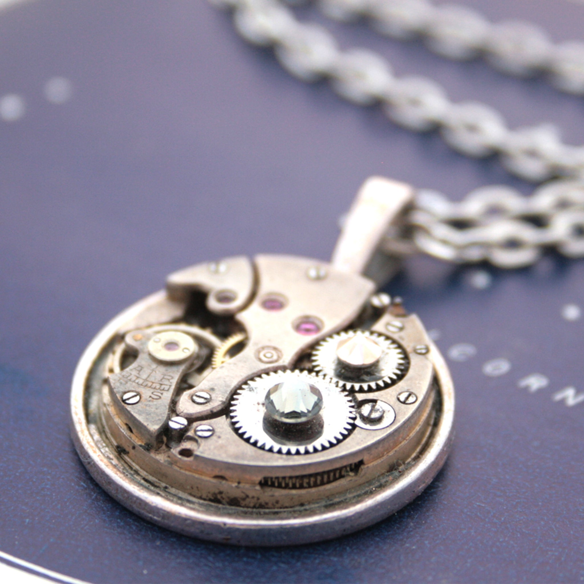 Steampunk Necklace with Crystals