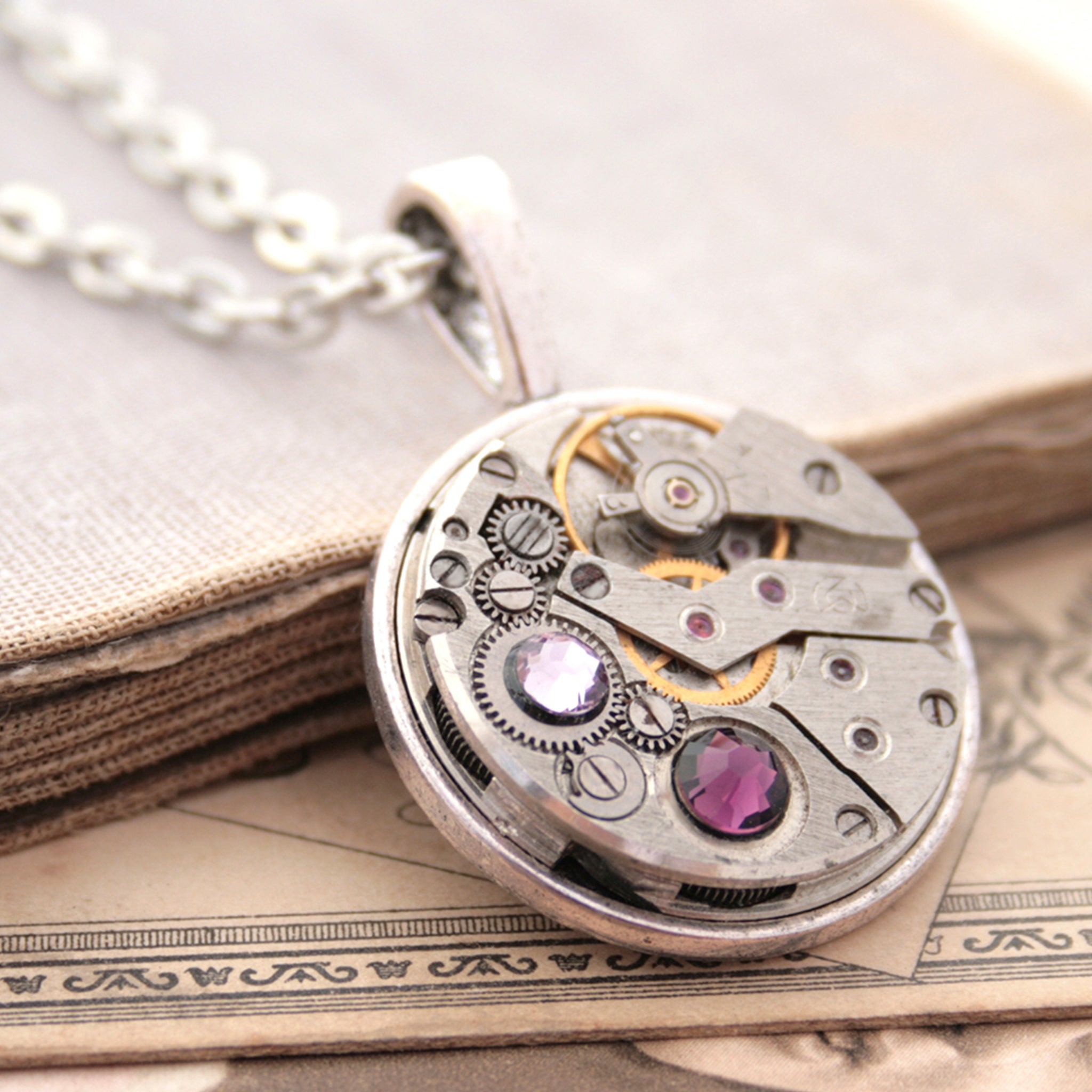 Steampunk Necklace with Amethyst