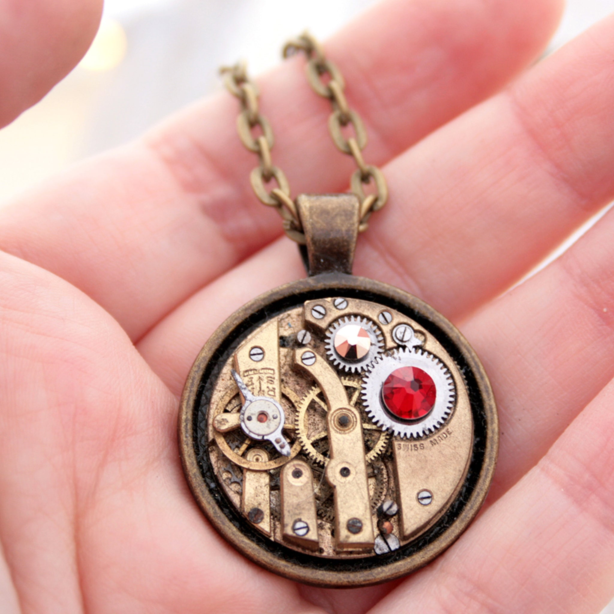 Steampunk Necklace with Scarlet Crystal