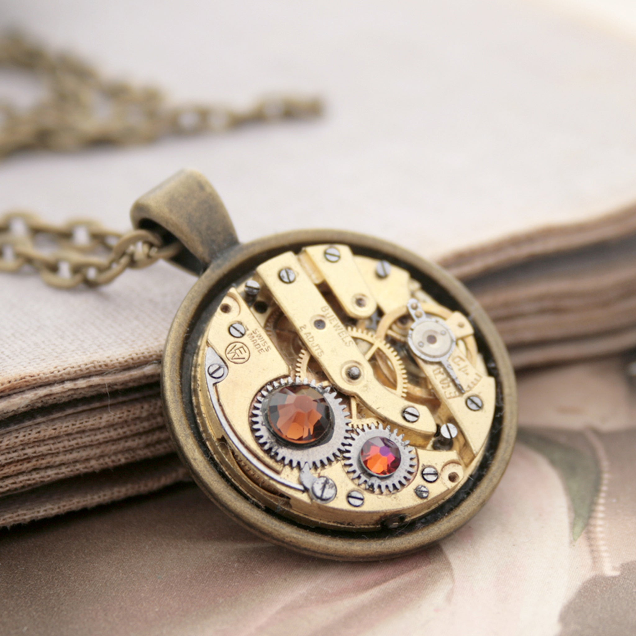 Steampunk Necklace with Smoked Topaz