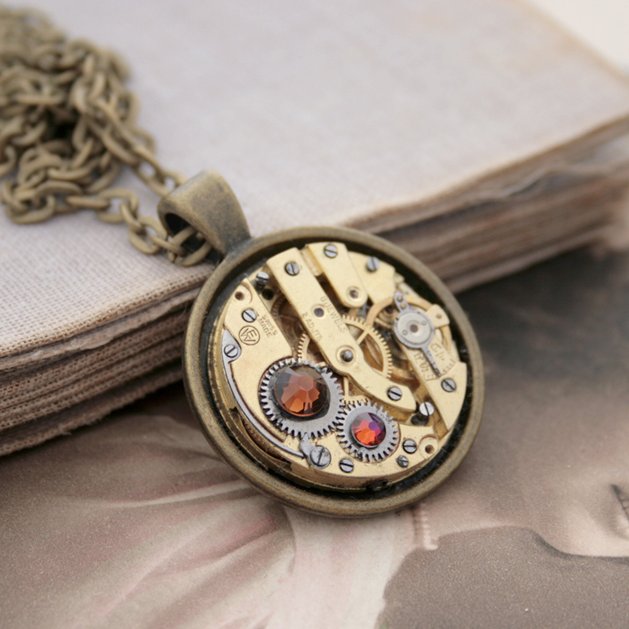 Gold Steampunk Necklace with Smoked Topaz