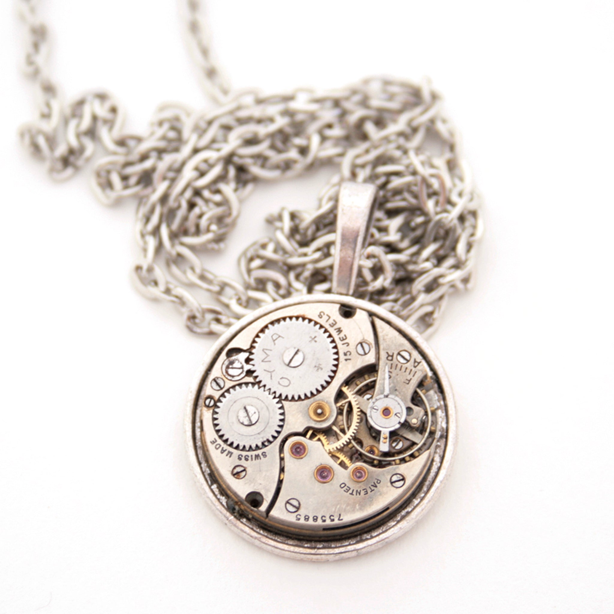 Clock Pendant Necklace in steampunk style