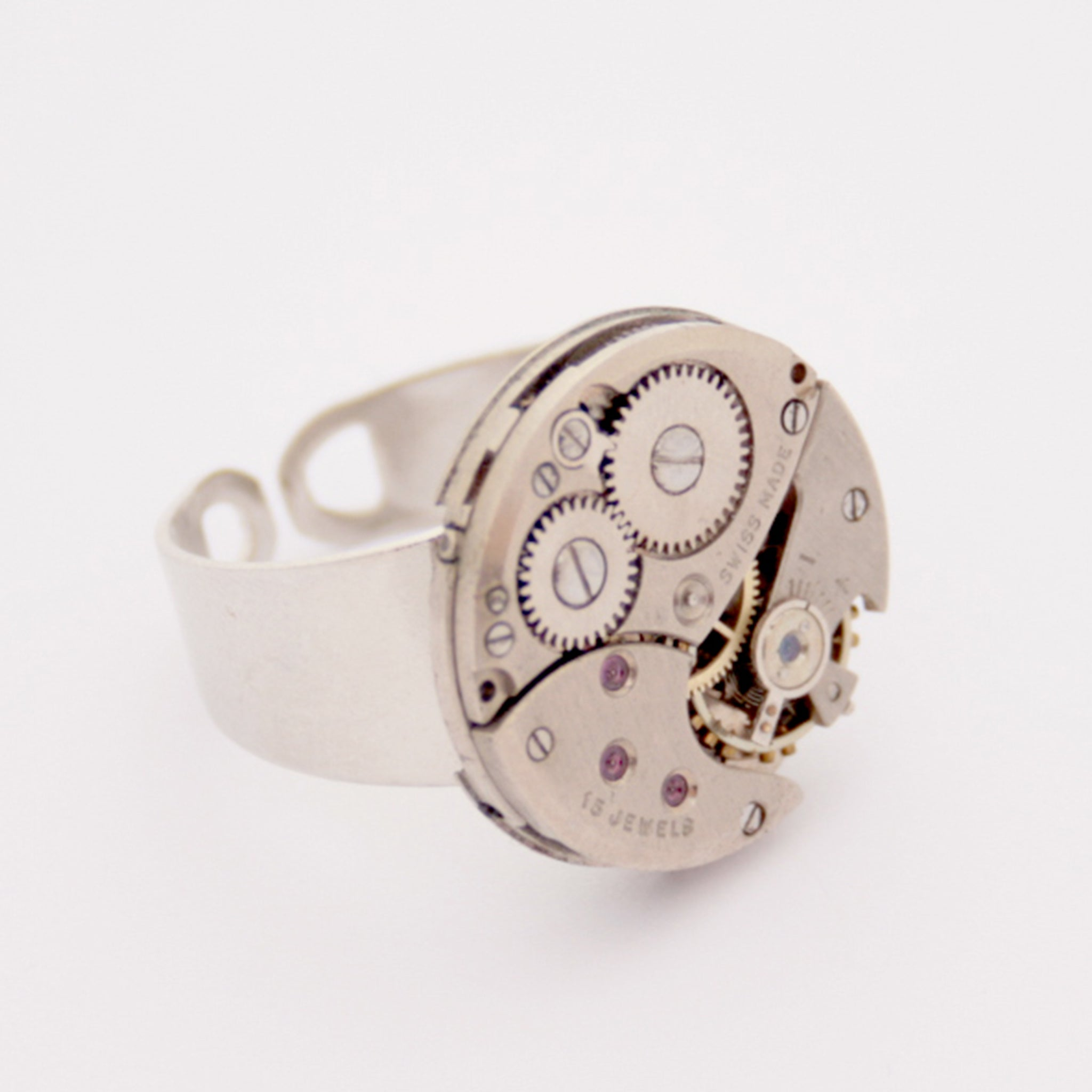 steampunk ring made of a real Swiss watch mechanism