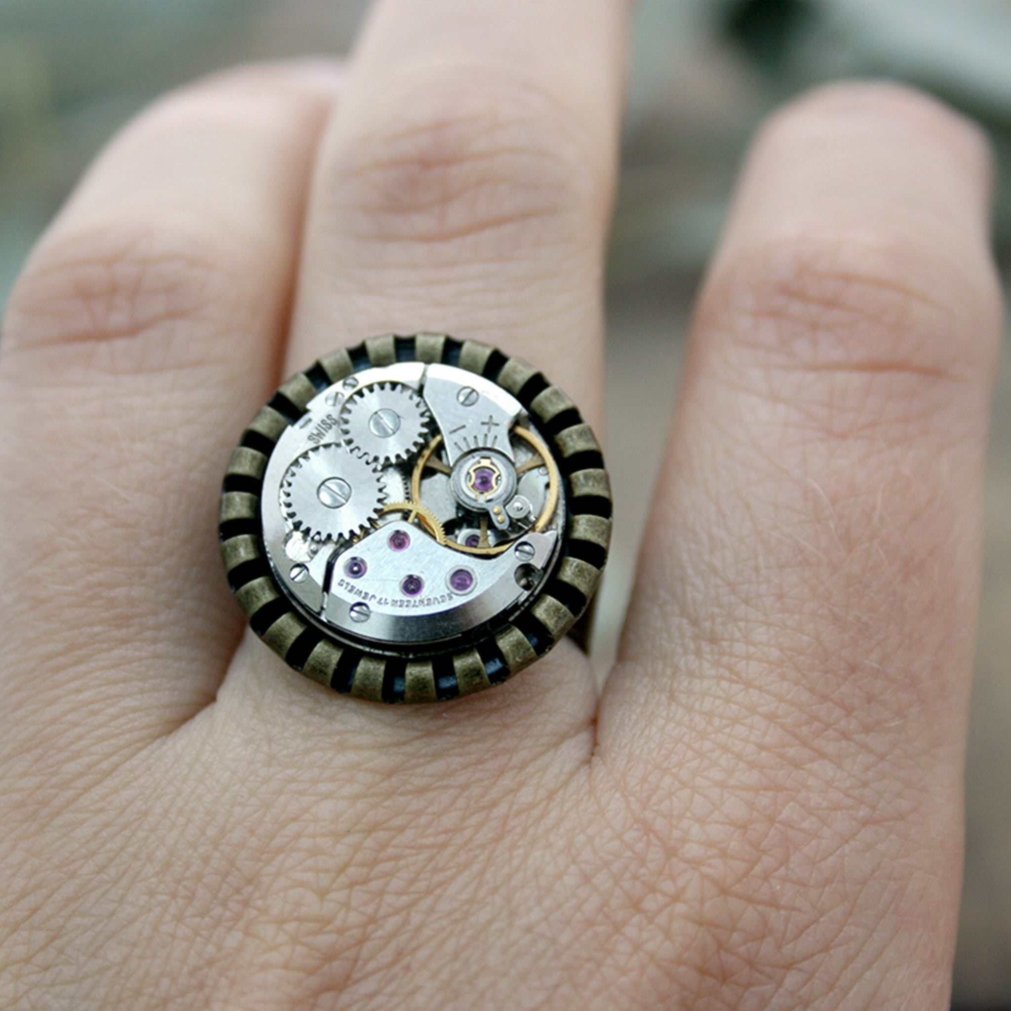 Steampunk Ring of real watch movement in Bronze tone for Her