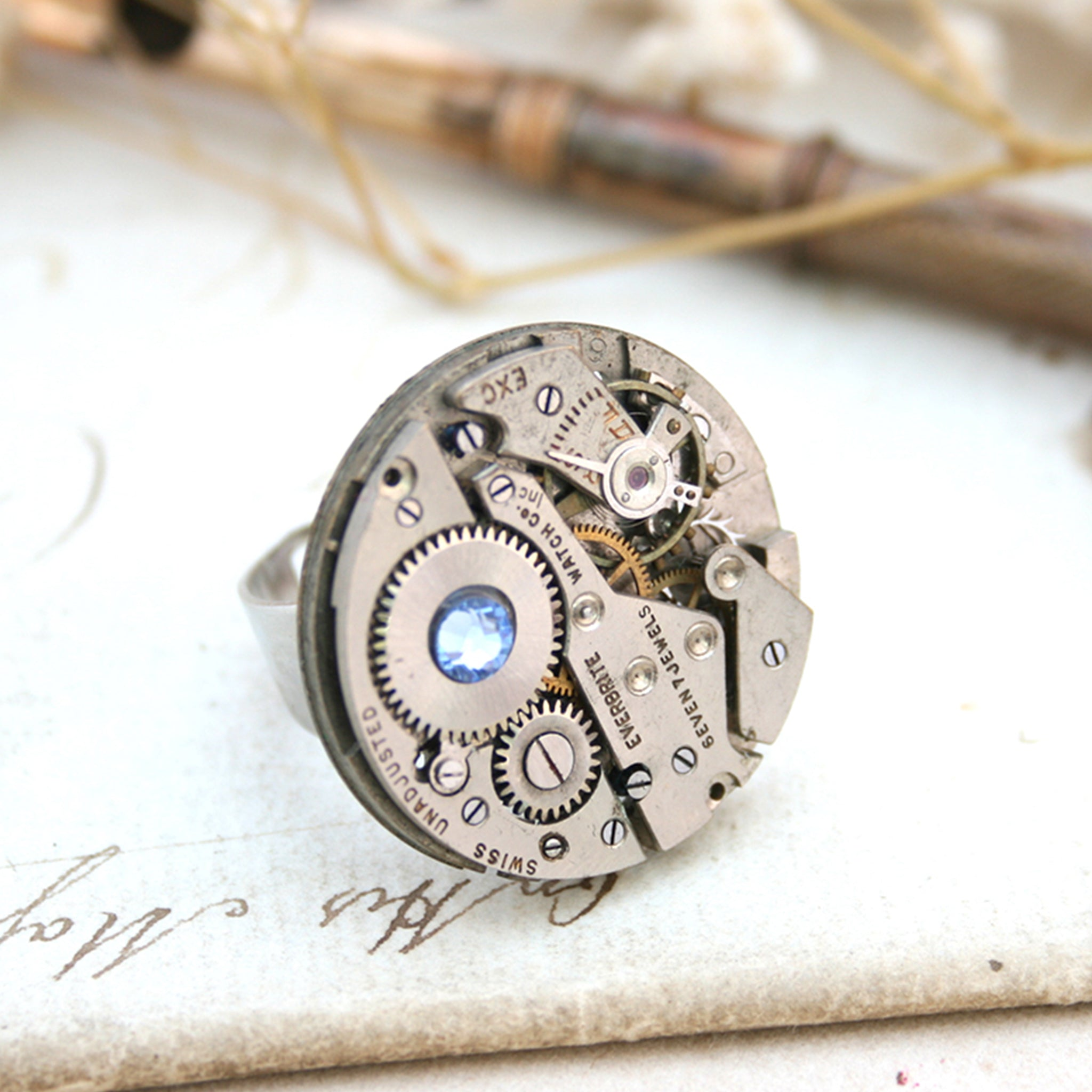Steampunk Ring with Sapphire Birthstone