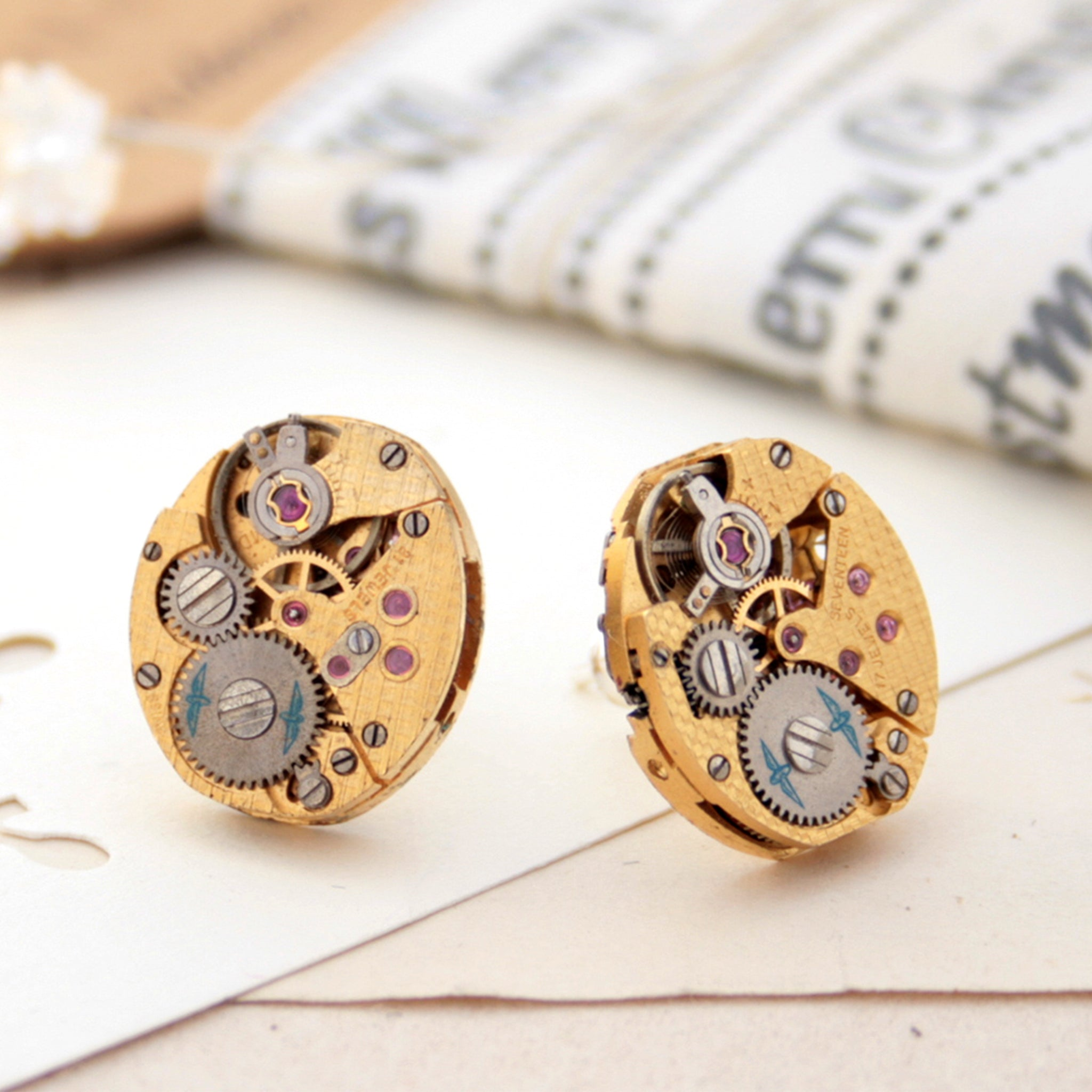 Gold Steampunk Stud Earrings