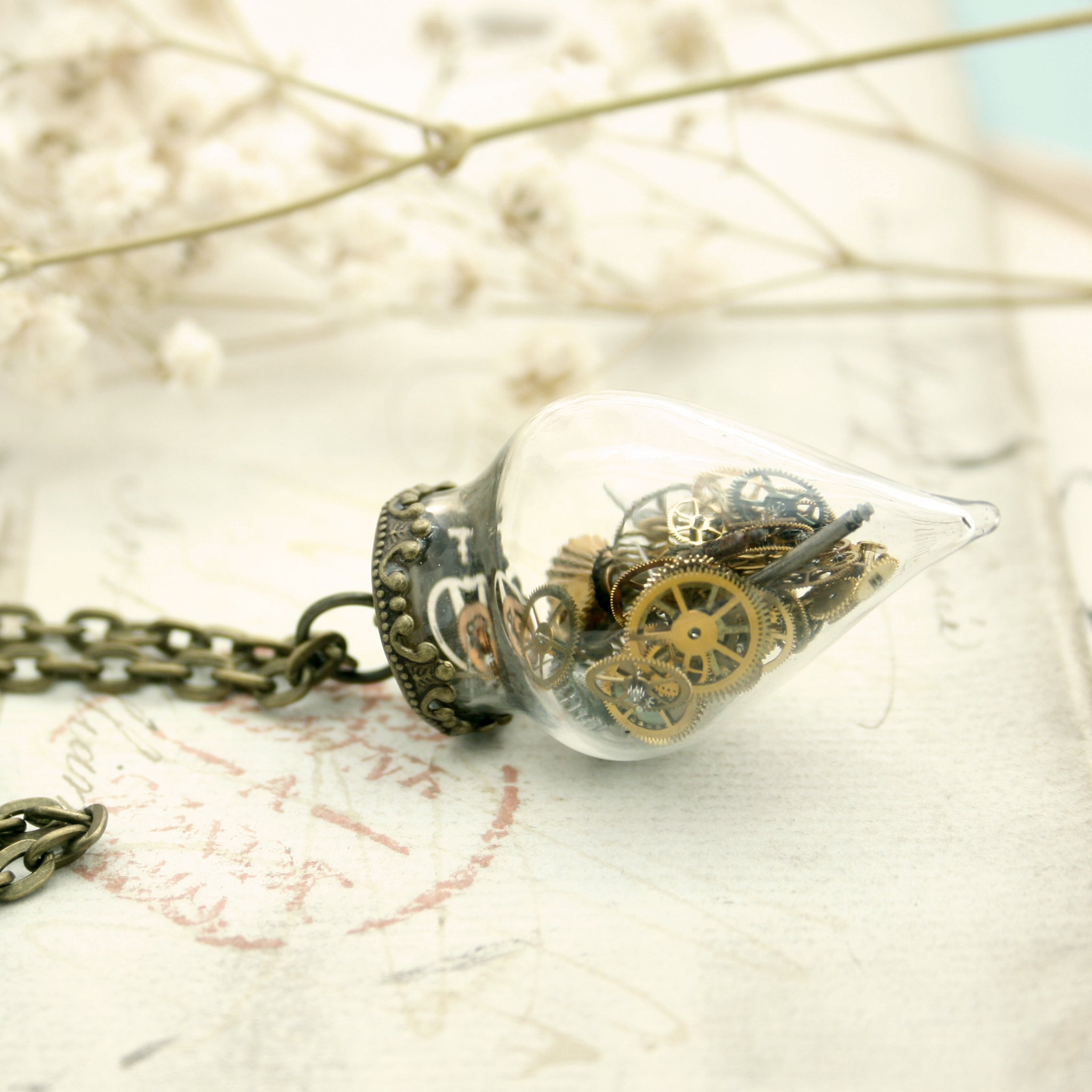 steampunk time capsule, terrarium pendant necklace made of glass in conical shape