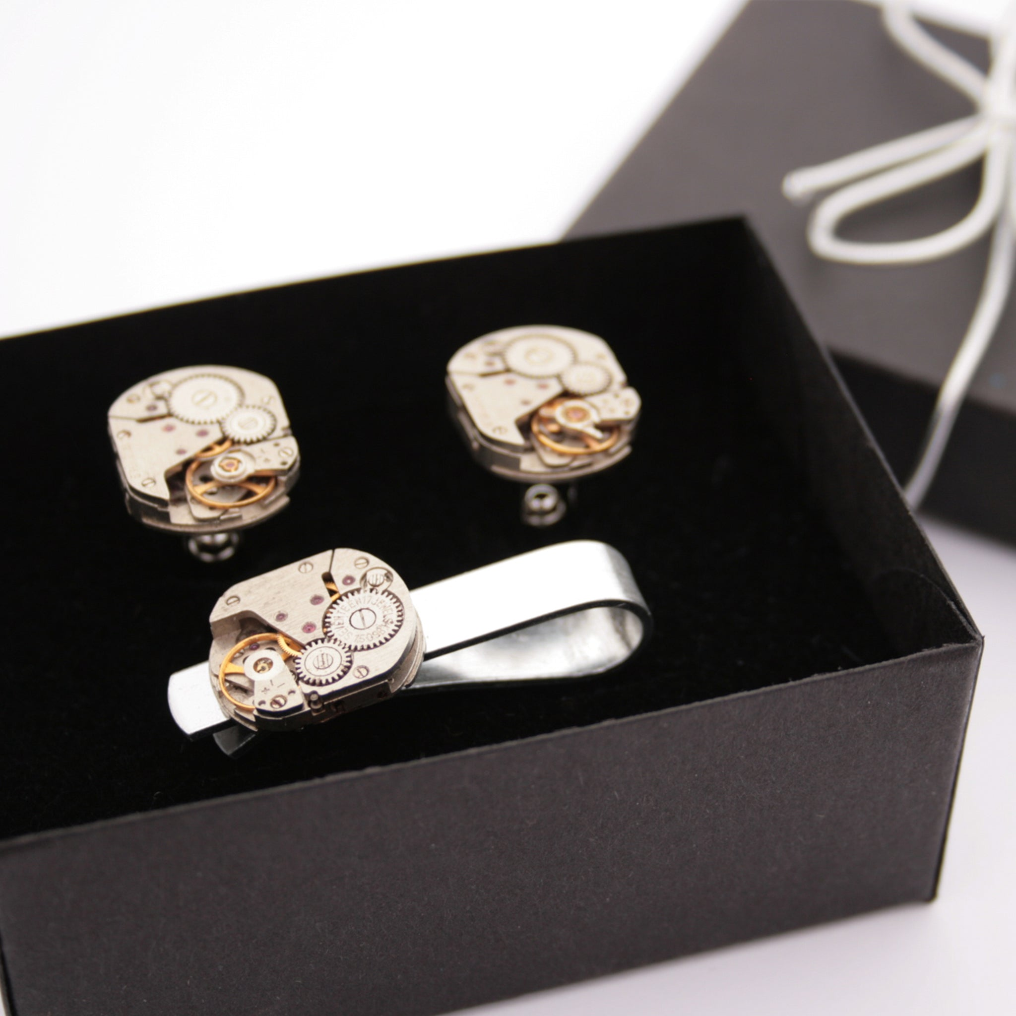 Steampunk Tie Clip and Cufflinks Set in a box