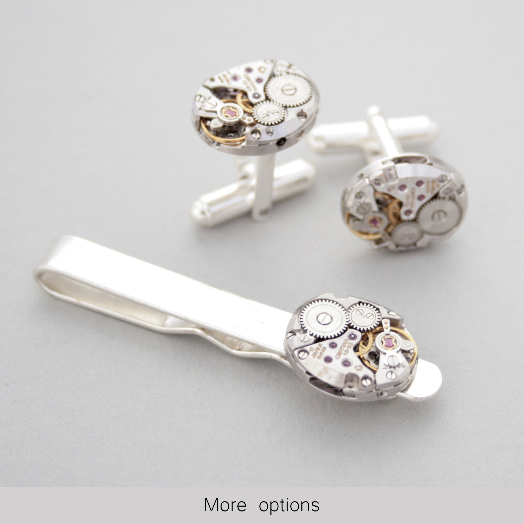 Sterling Tie Clip and Cufflinks Set