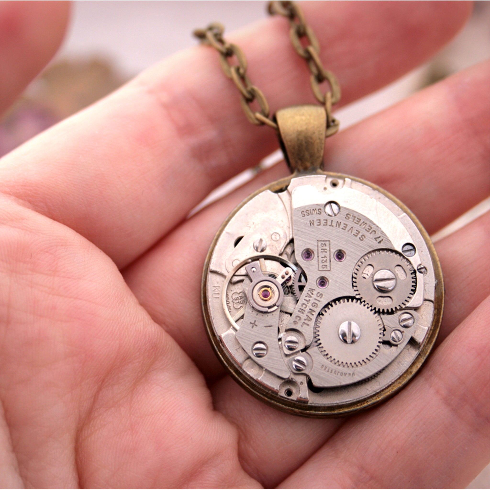 Steampunk Watch Movement Mens Necklace