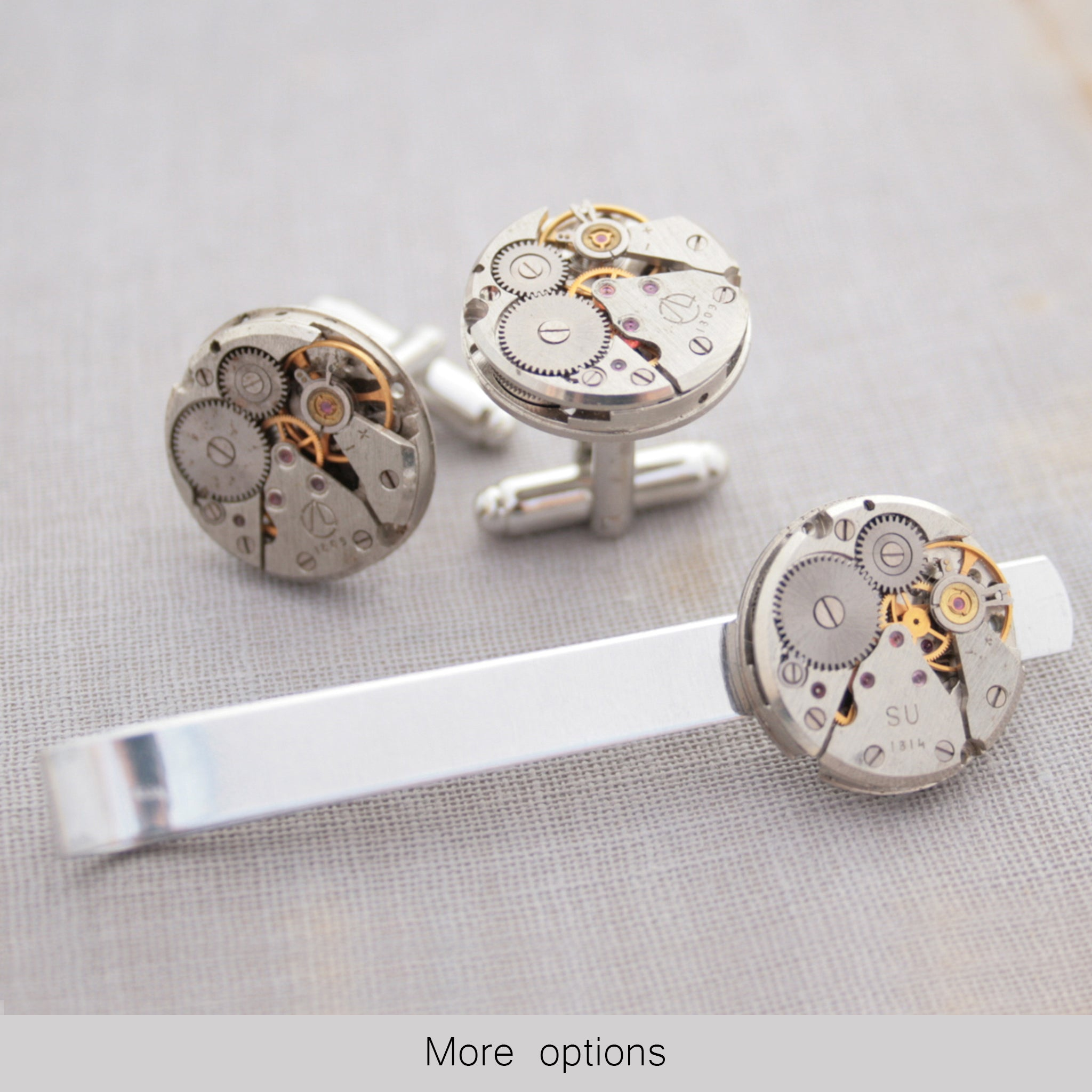 Steampunk Watch Movement Tie Clip and Cufflinks Set
