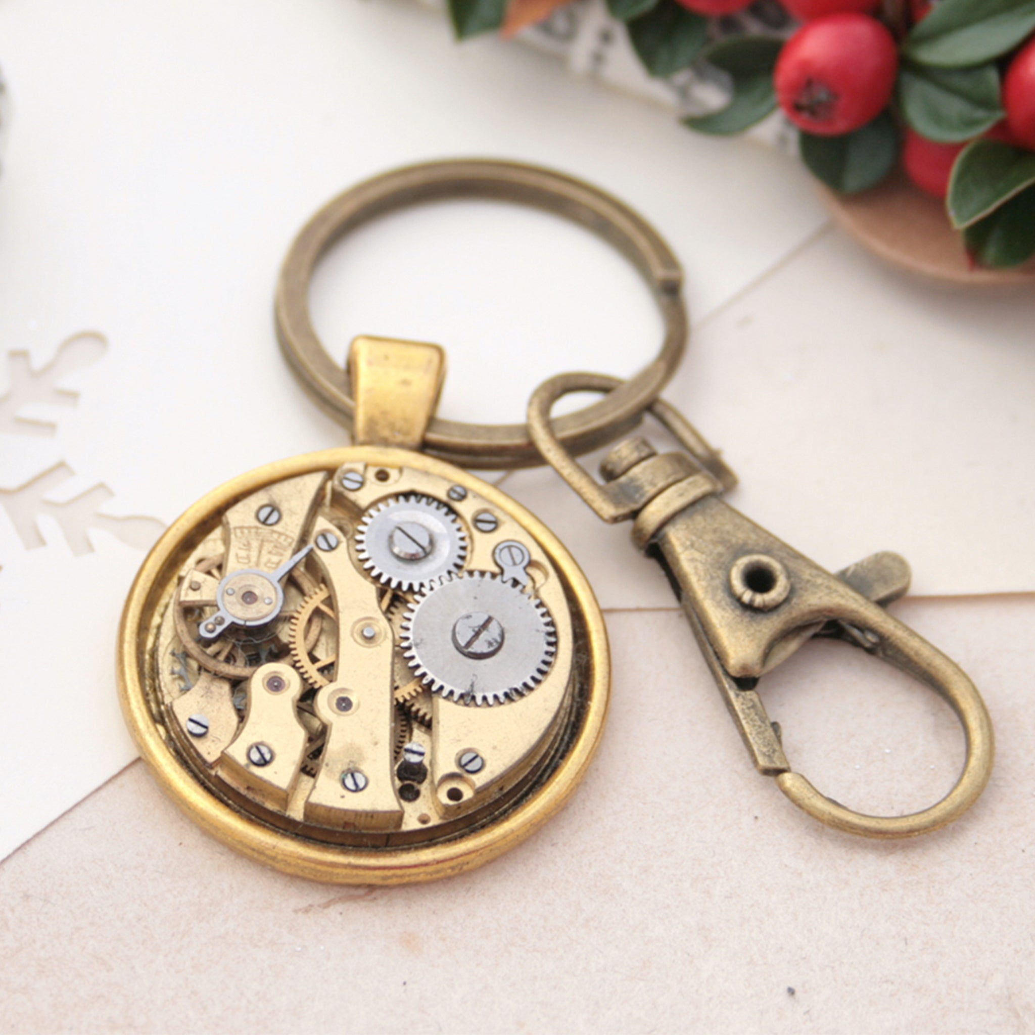 Keyrings for Car Keys made of gold tone watch movement