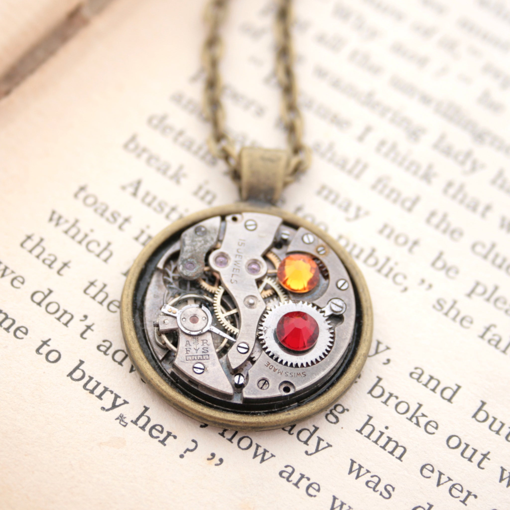 Dark academia necklace made of watch mechanism and Swarovski crystals