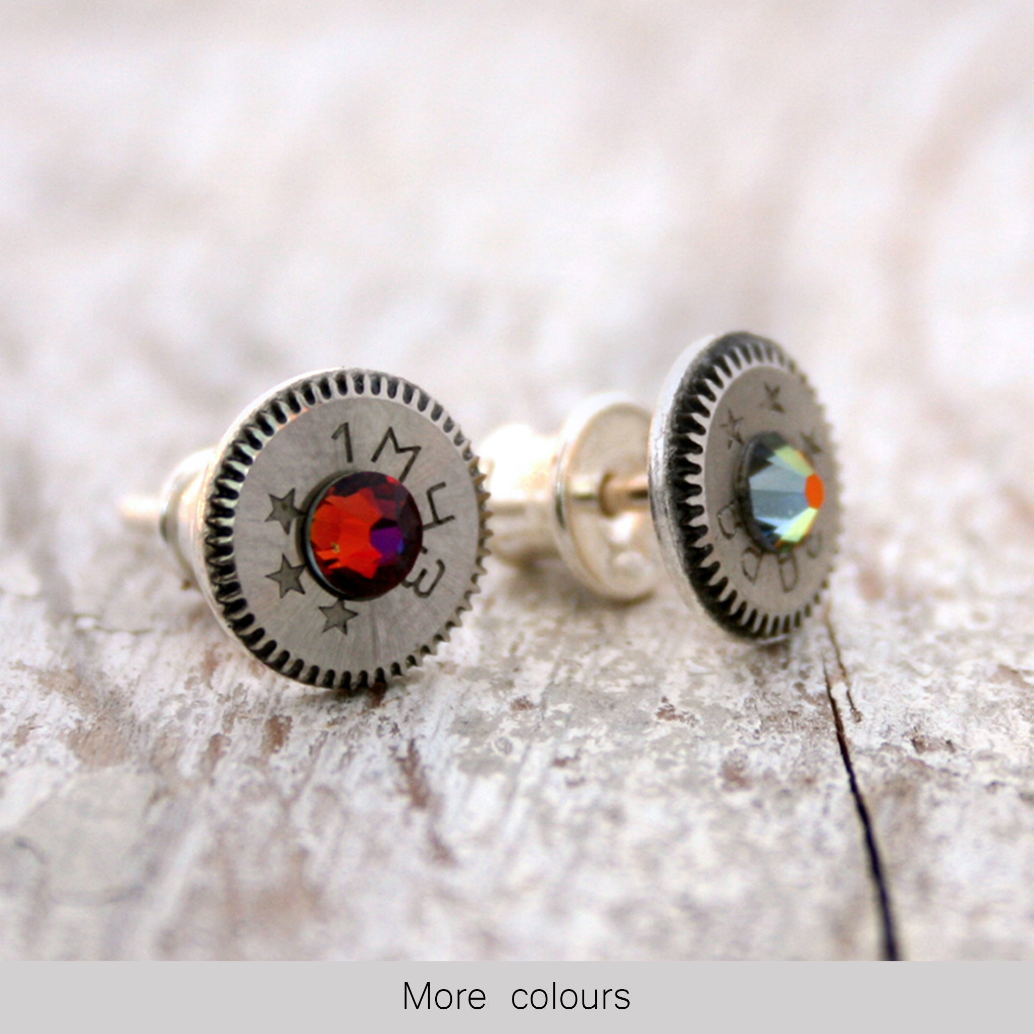 Birthstone Earrings in steampunk style