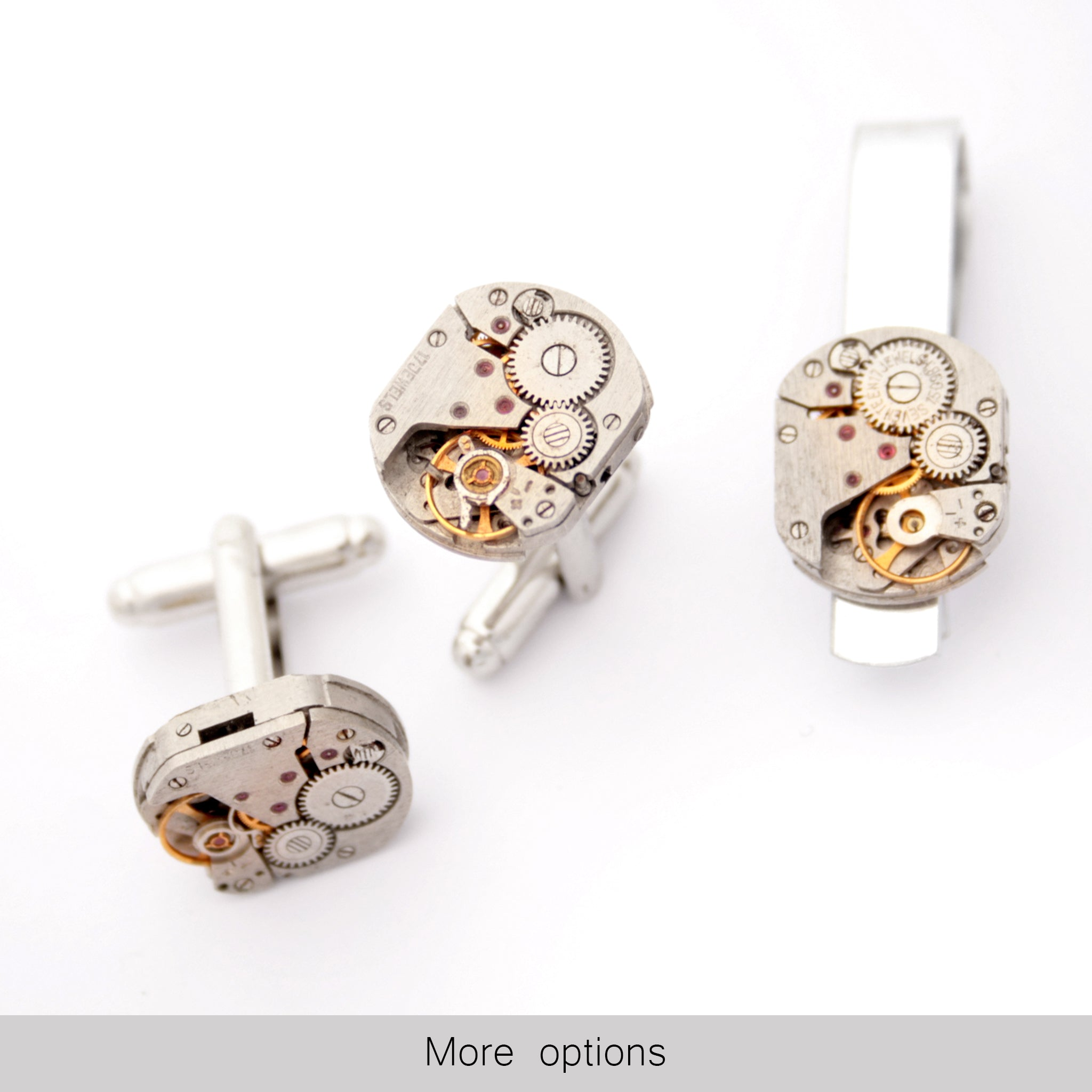 Steampunk Tie Clip and Cufflinks Set