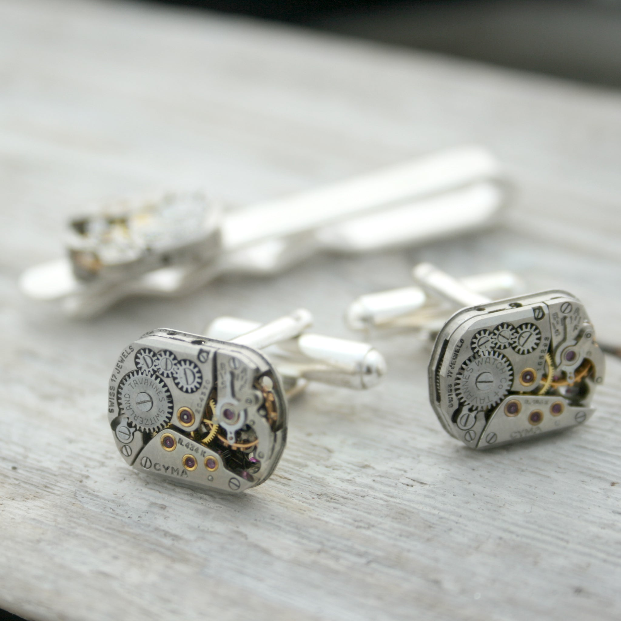 Sterling Tie Clip and Cufflinks Steampunk Set
