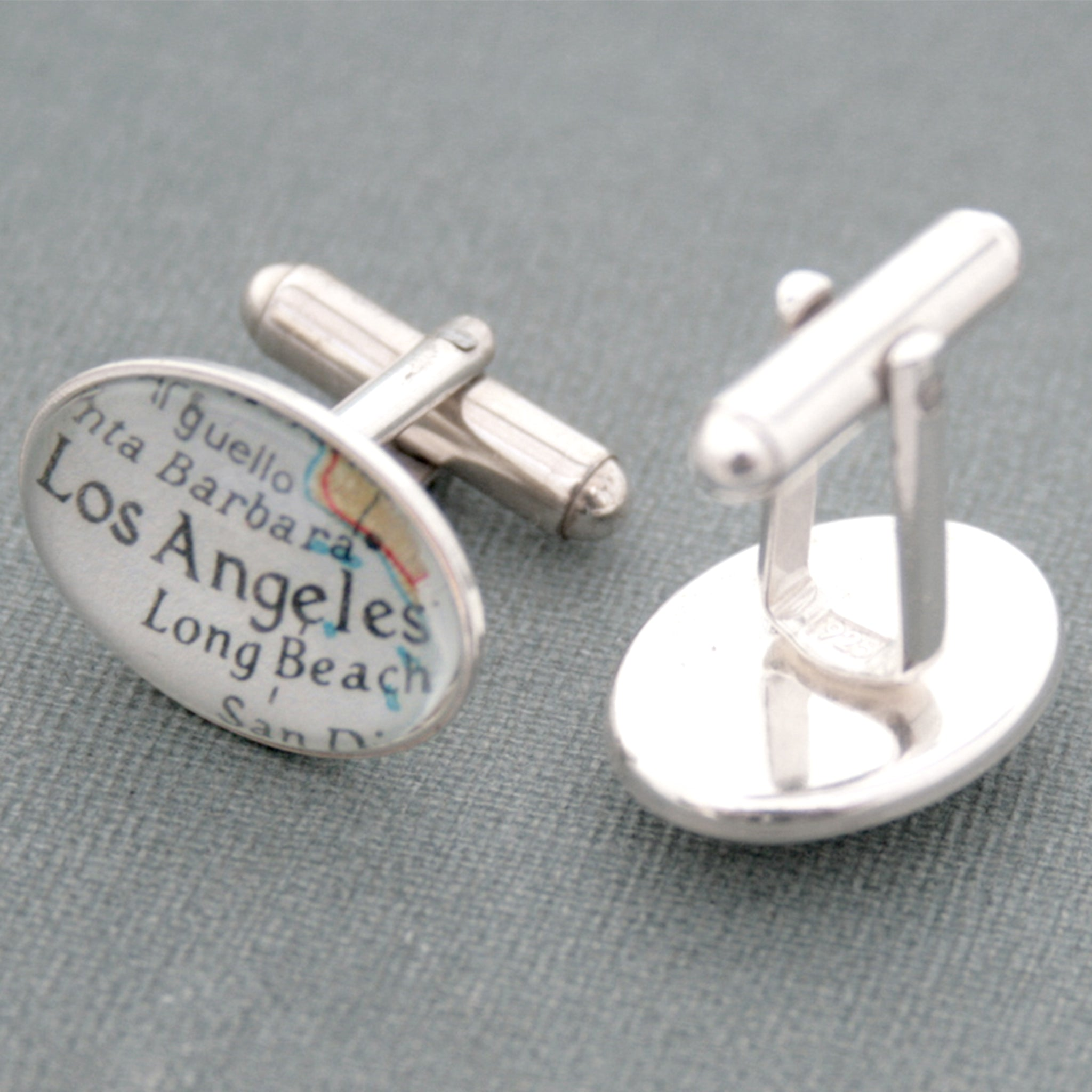 Sterling silver Personalised map cufflinks featuring maps of Los Angeles and San Francisco