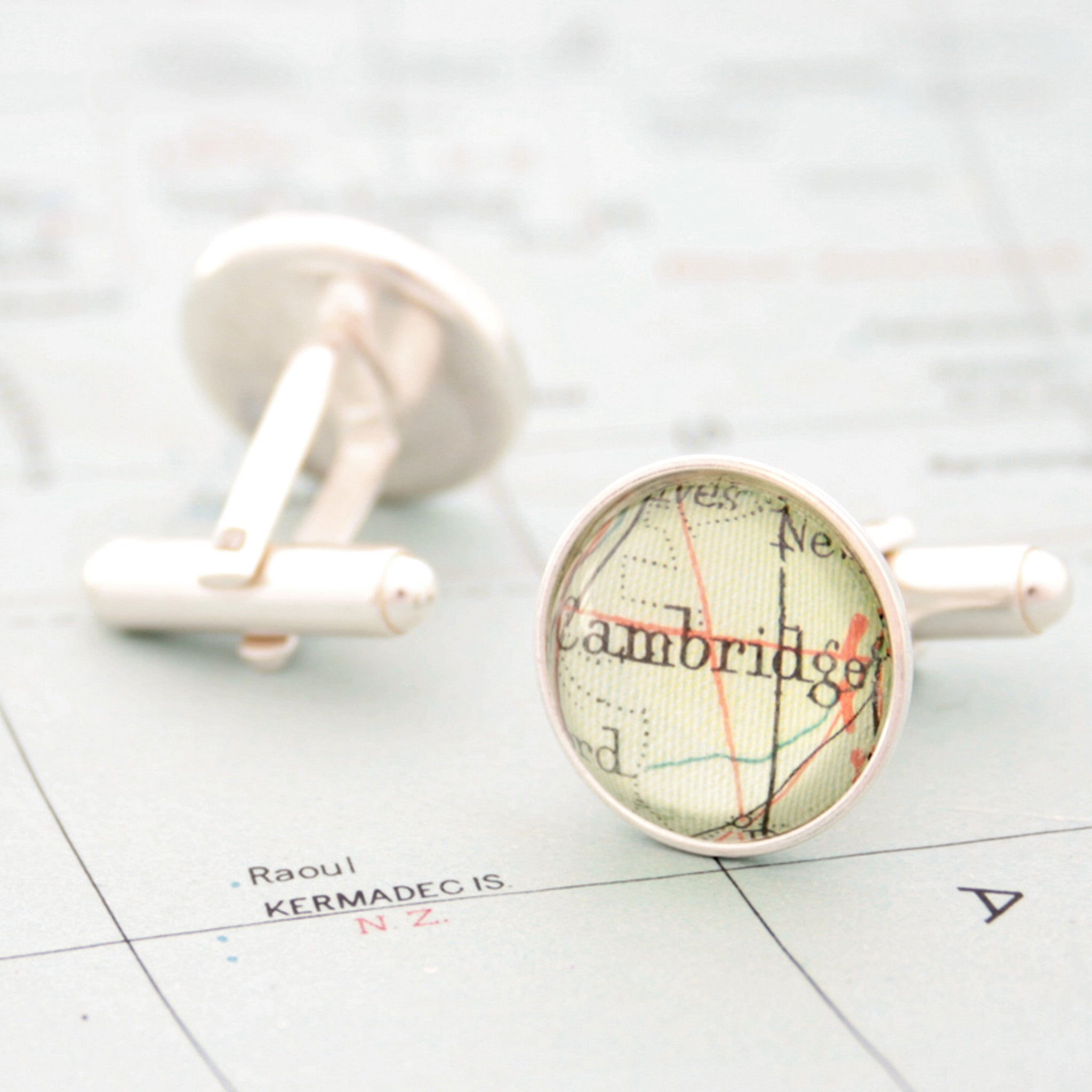 Sterling silver Personalised map cufflinks featuring maps of Cambridge and Leamington Spa