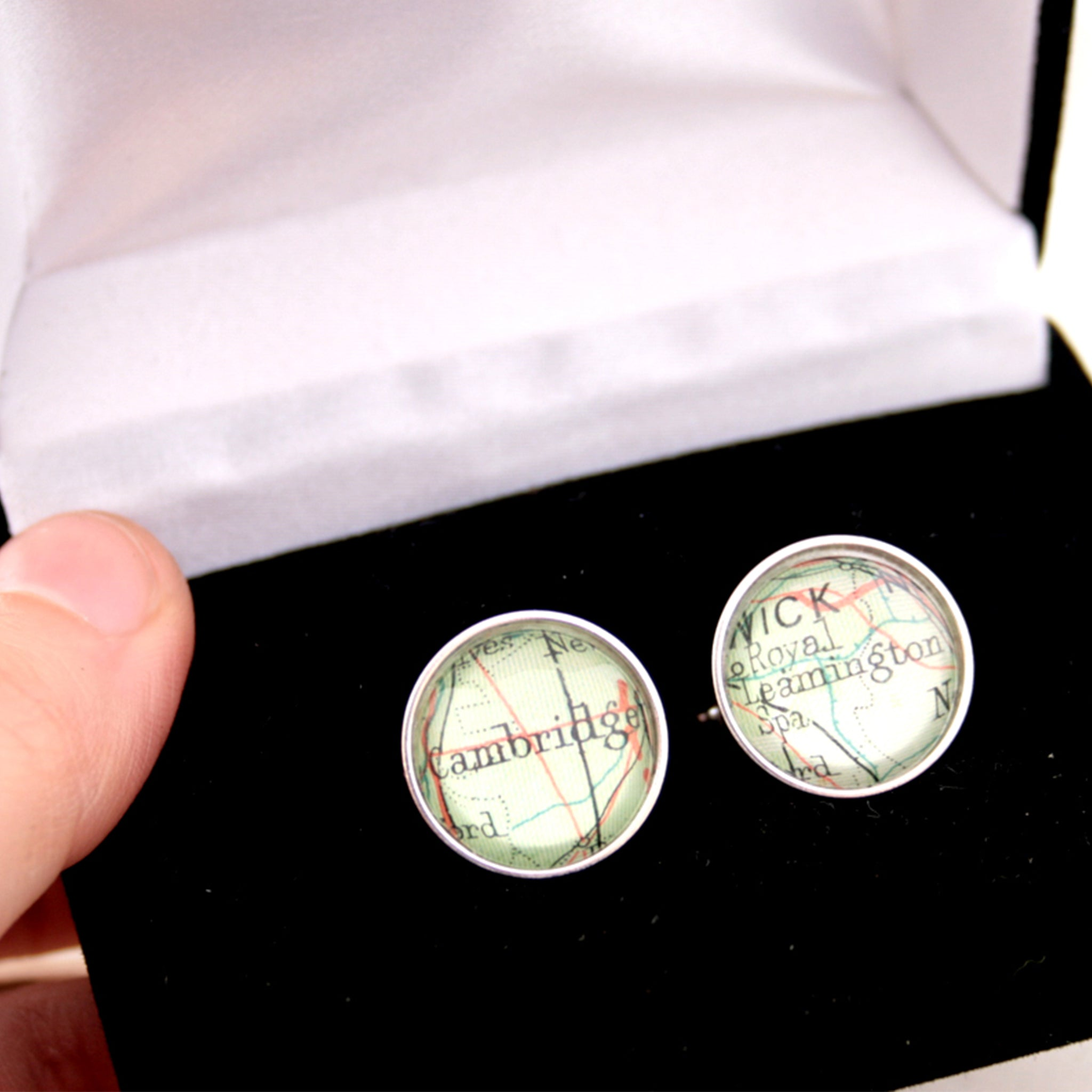 Sterling silver Personalised map cufflinks featuring maps of Cambridge and Leamington Spa in a box