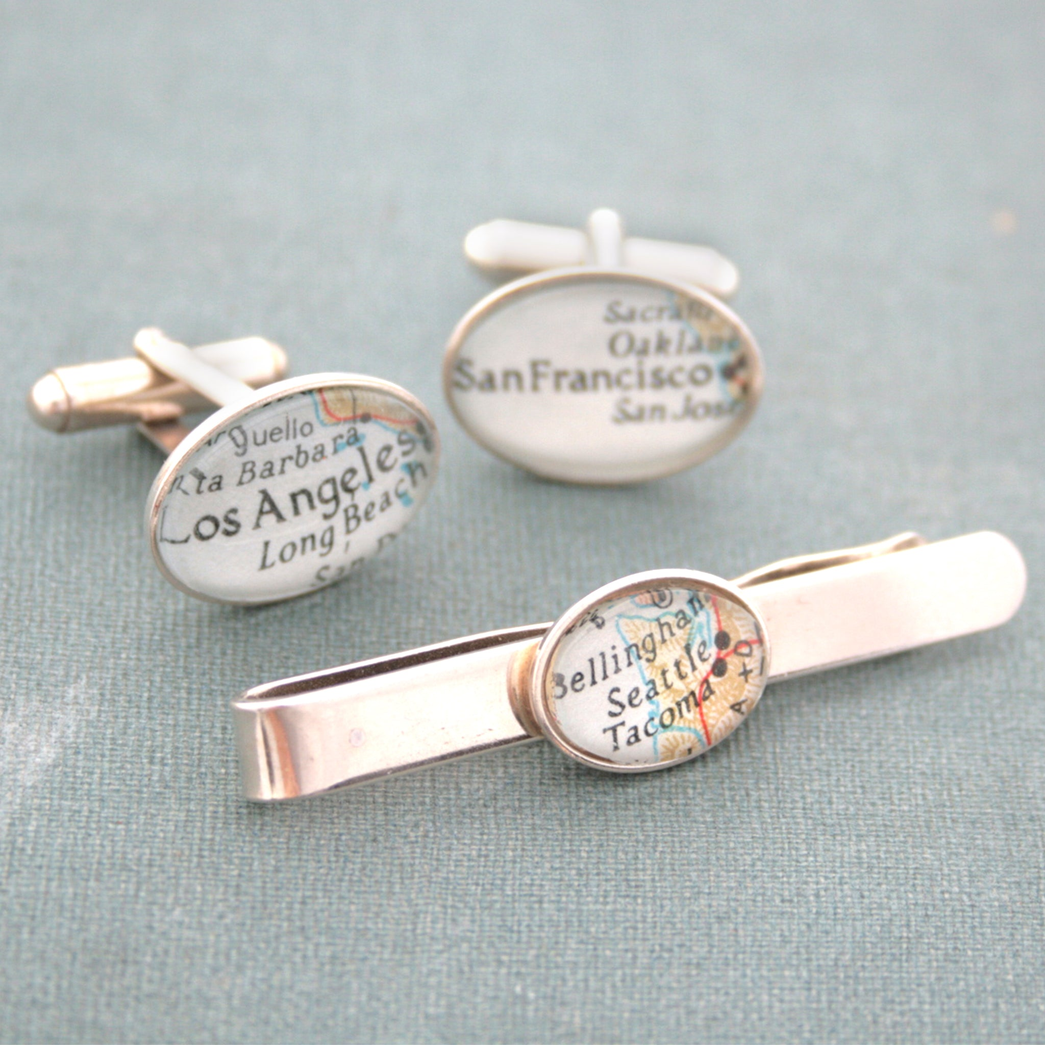 Sterling Silver Tie Clip and Cufflinks set featuring custom map locations