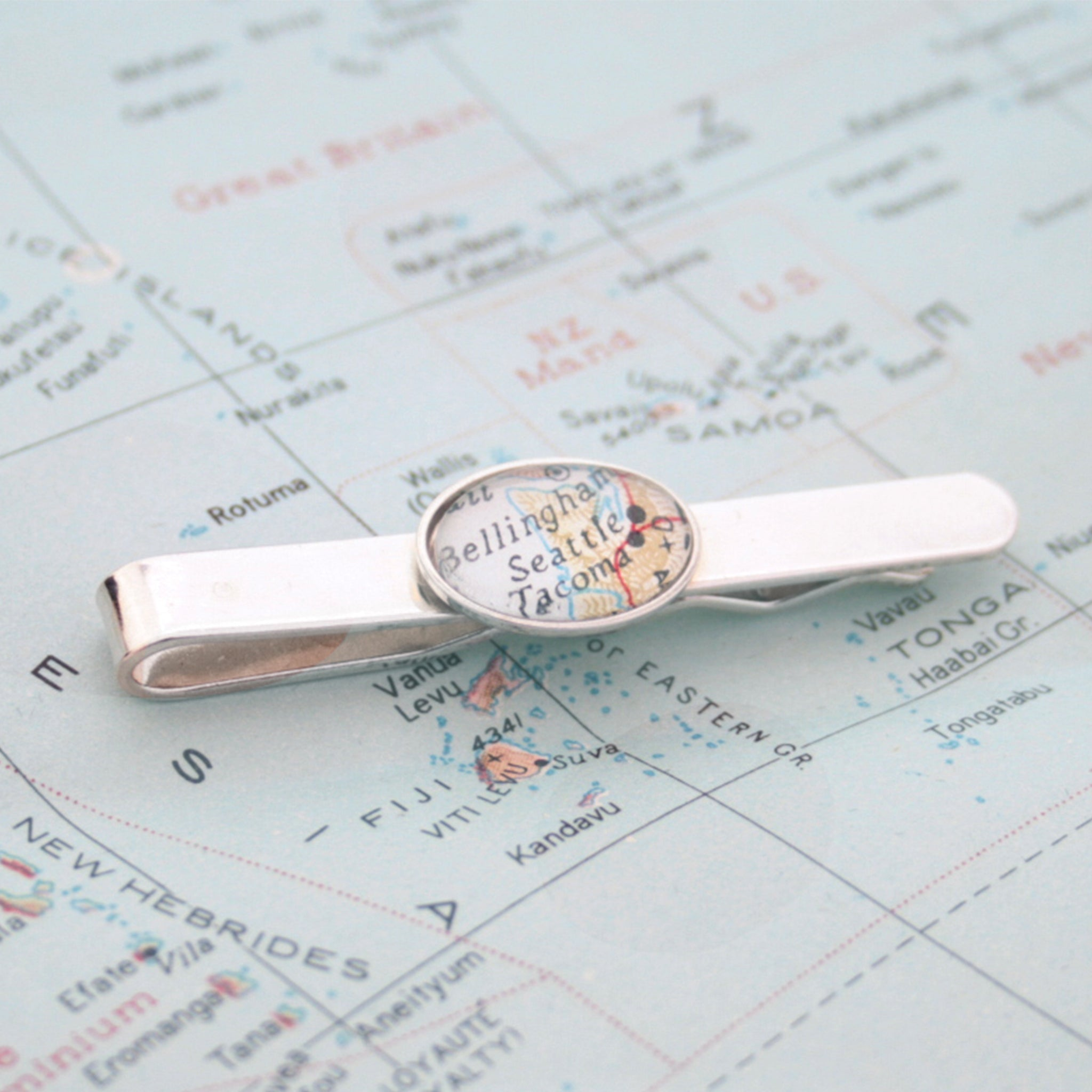 Sterling Silver tie clip that features custom map location