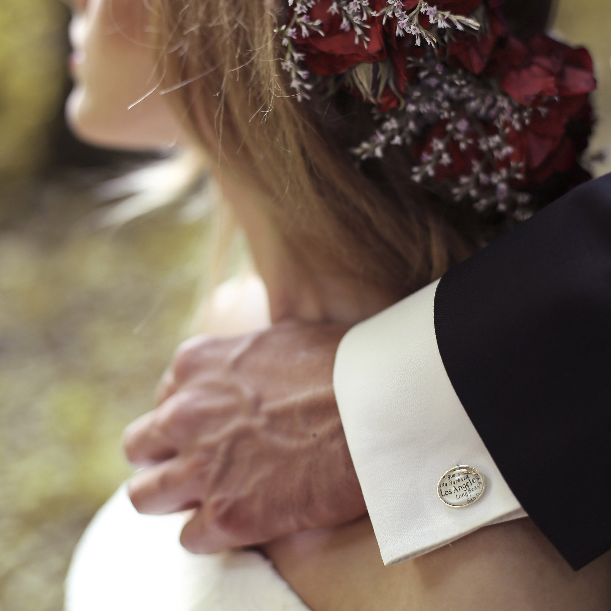 Bride and groom wearing Sterling Silver Cufflinks that features custom map locations