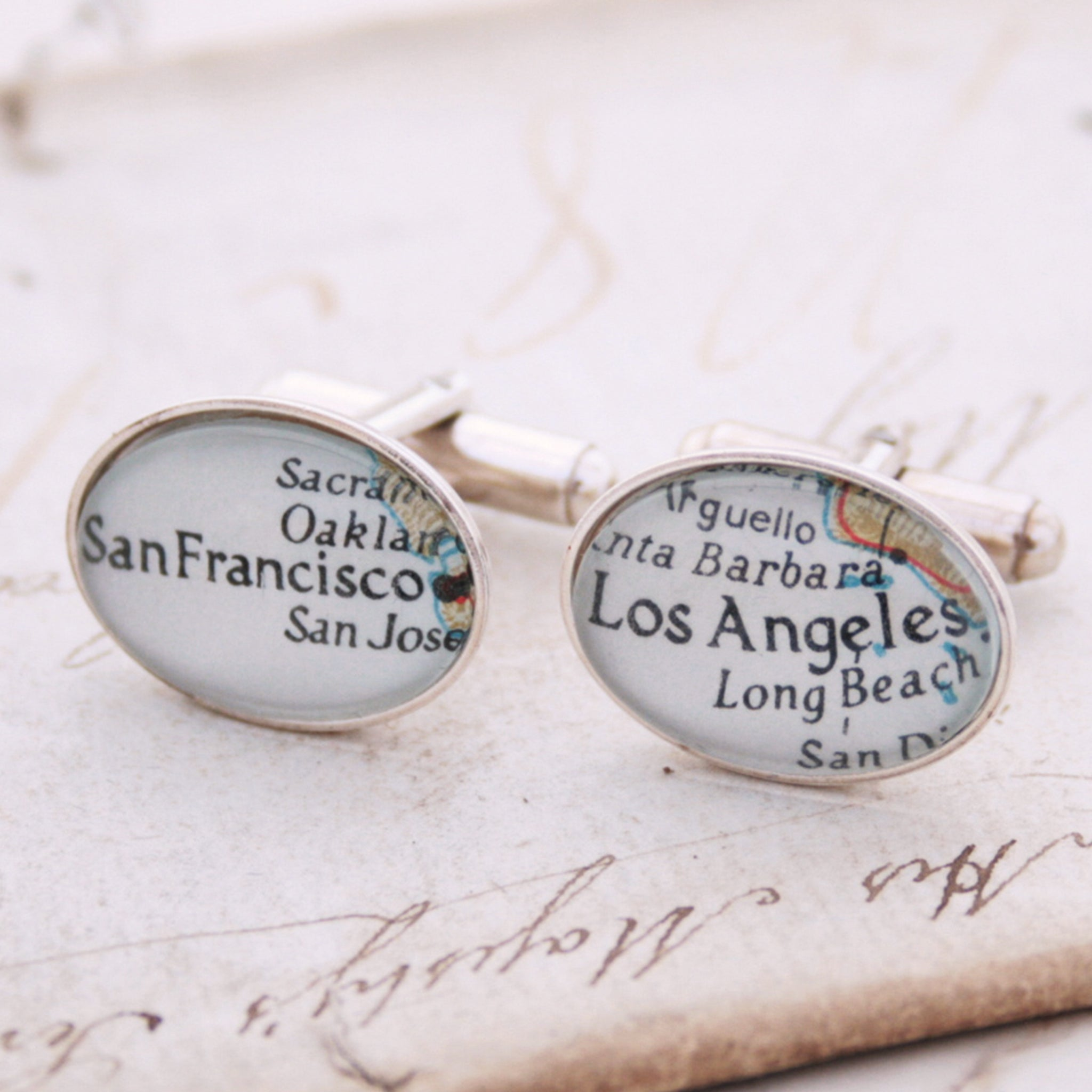 Sterling Silver Cufflinks set featuring custom map locations