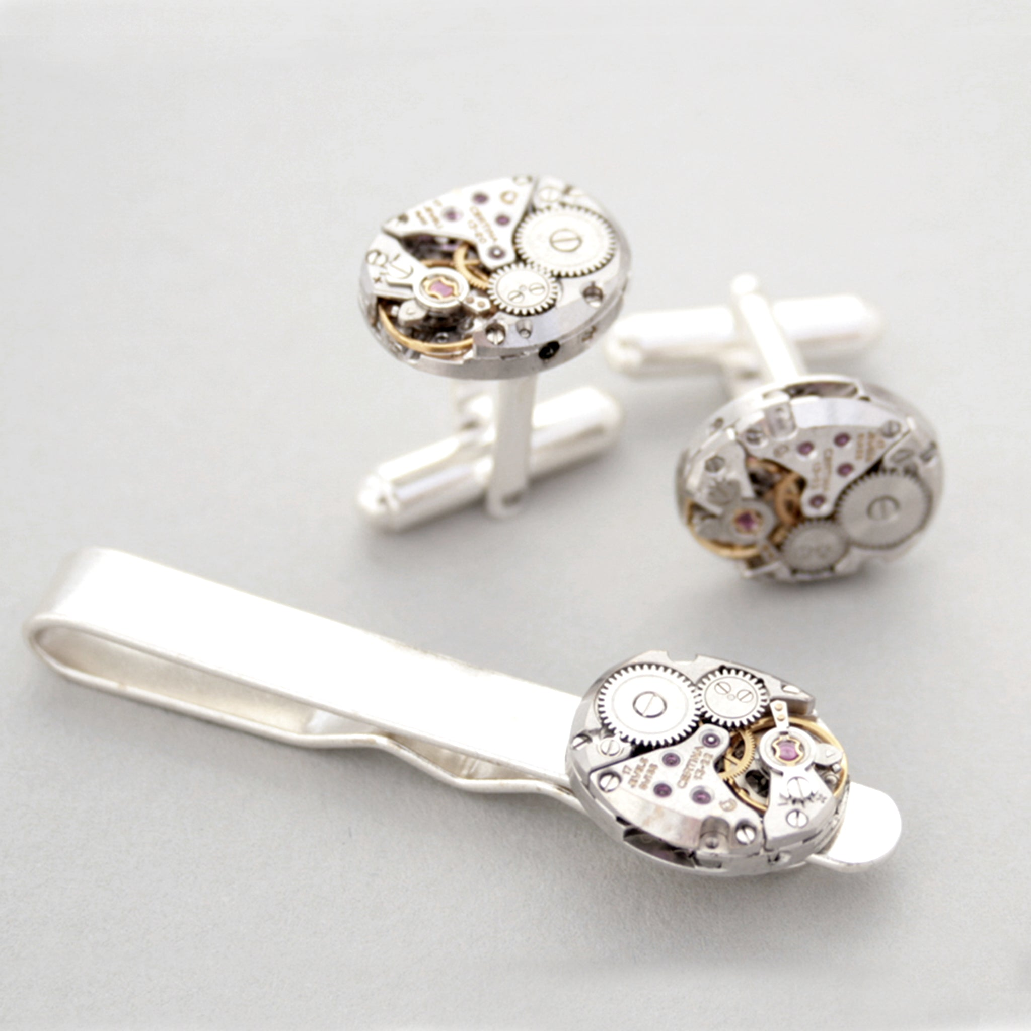 Sterling Cufflinks and Tie Clip Set