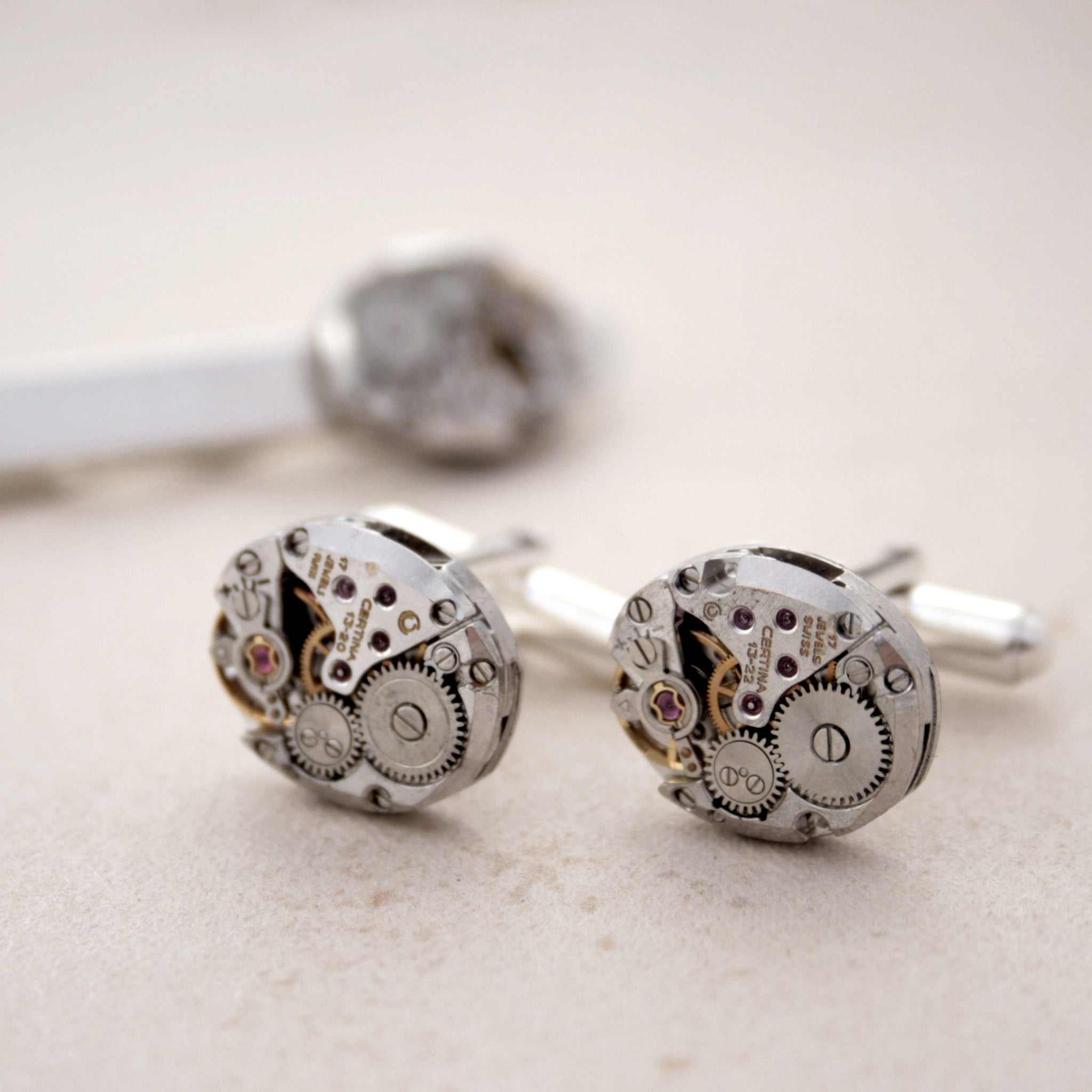 Steampunk Sterling Cufflinks and Tie Clip Set