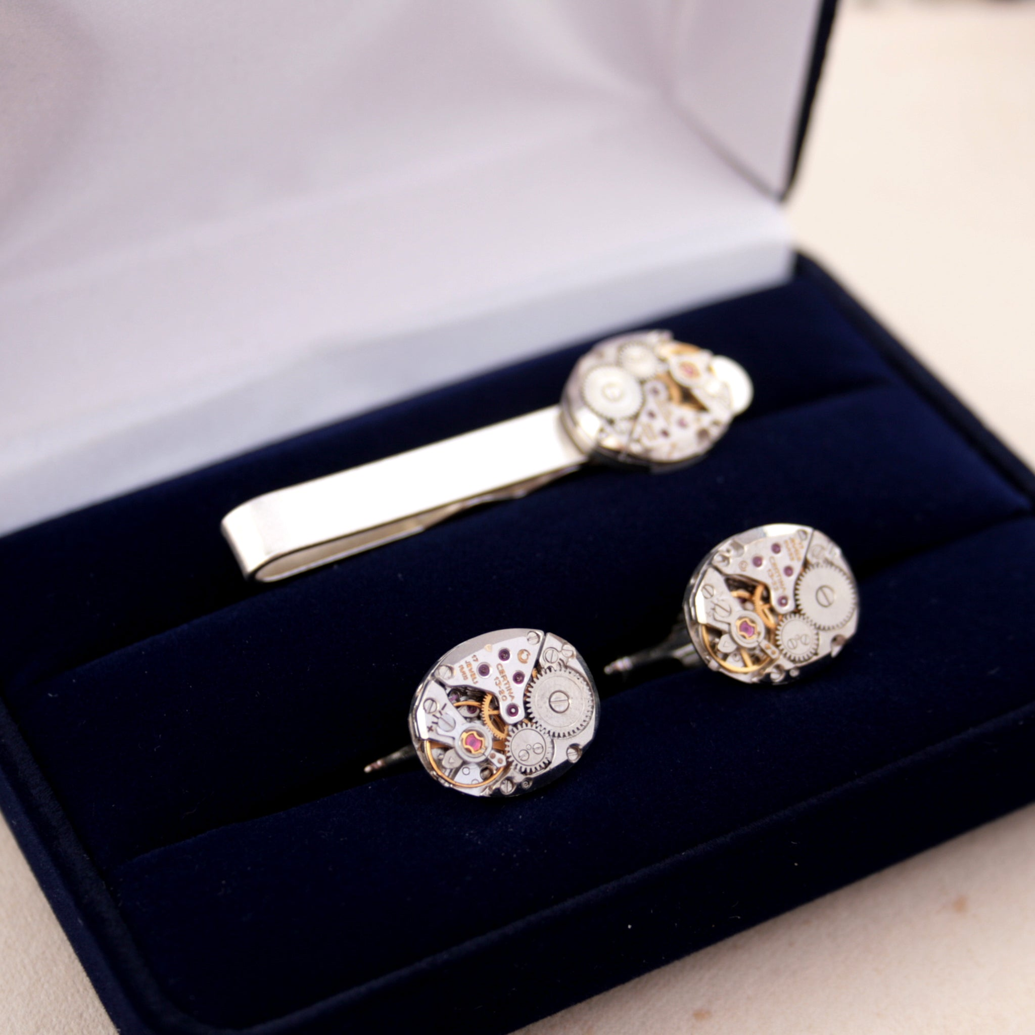 Sterling Cufflinks and Tie Clip Set in elegant velour box