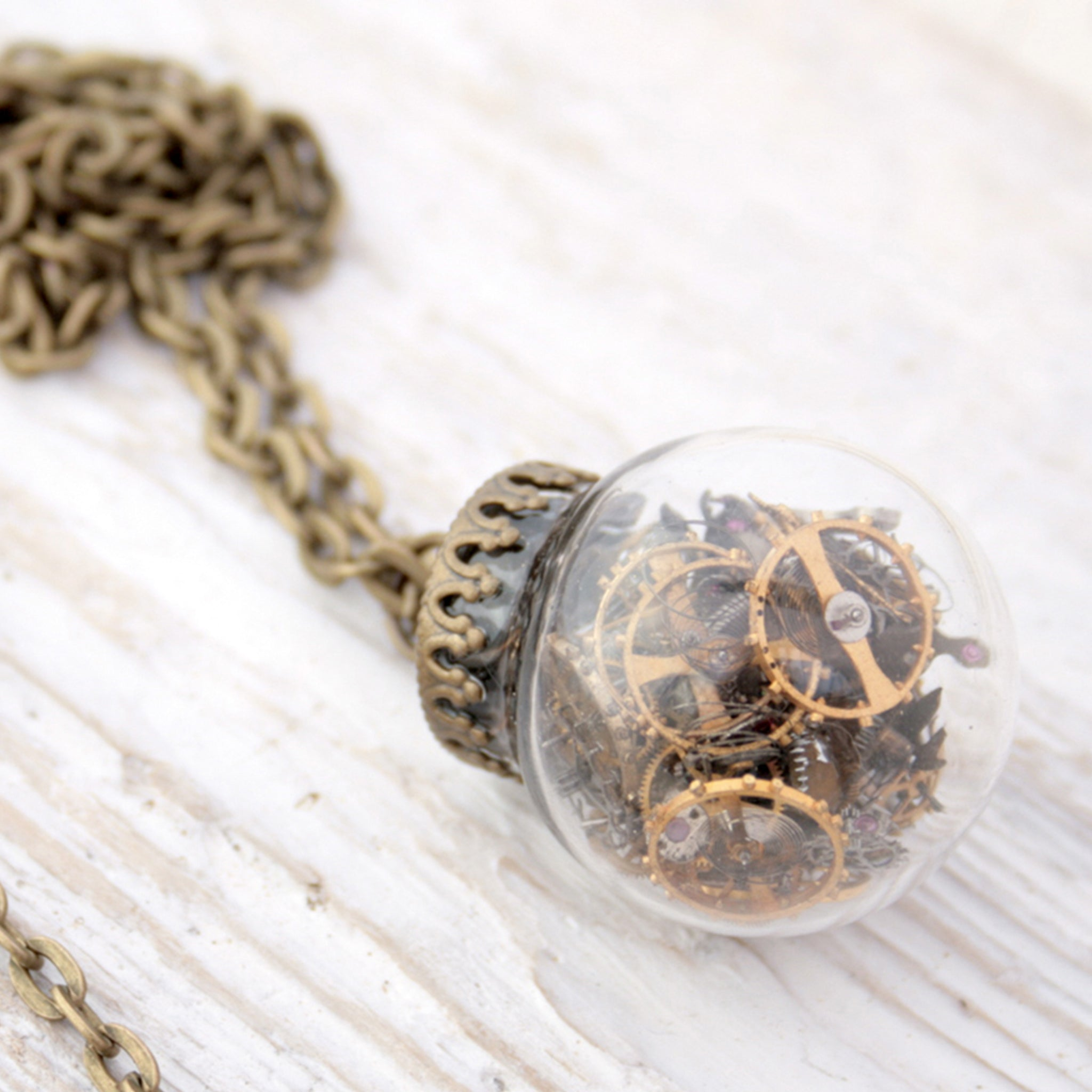 Glass Terrarium Necklace with Steampunk Watch Parts