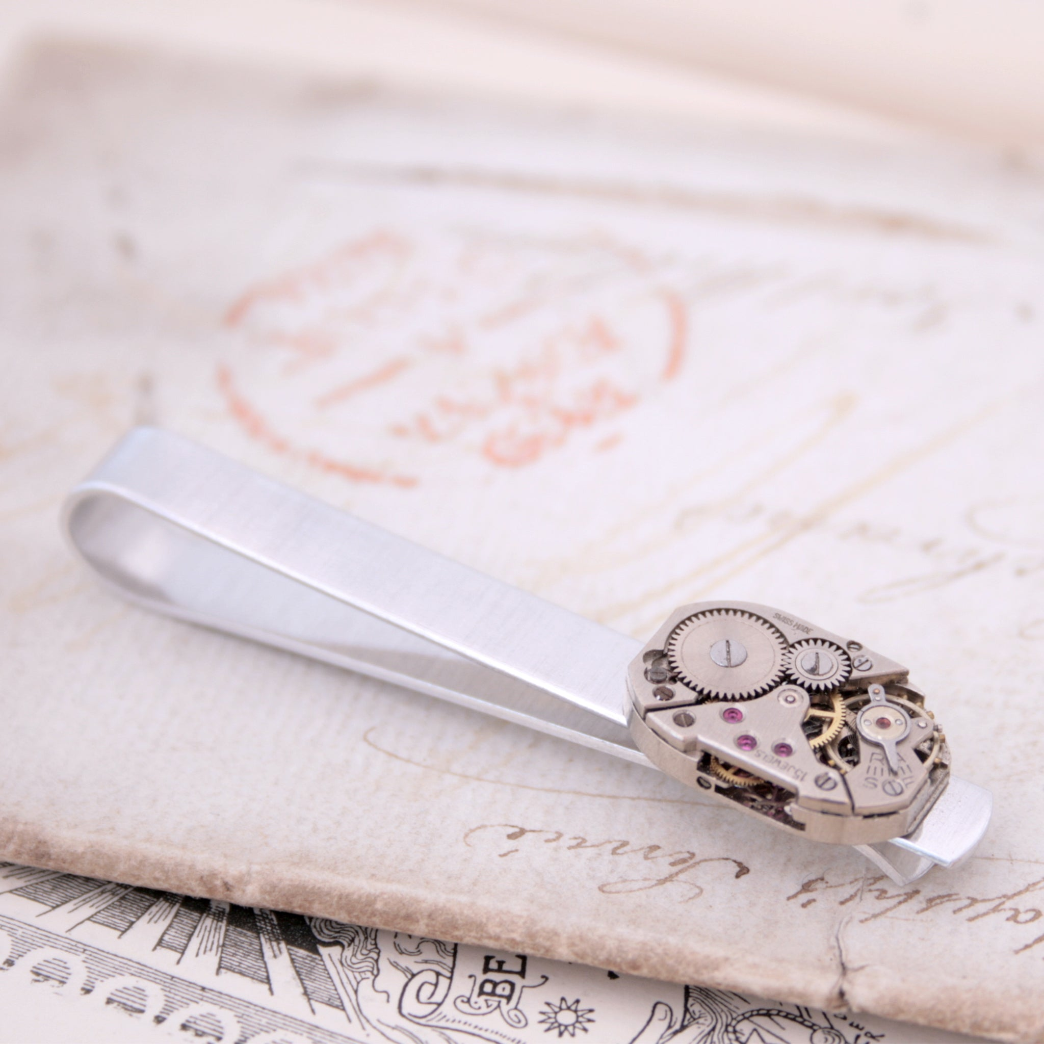 Tie Bar with antique watch movement