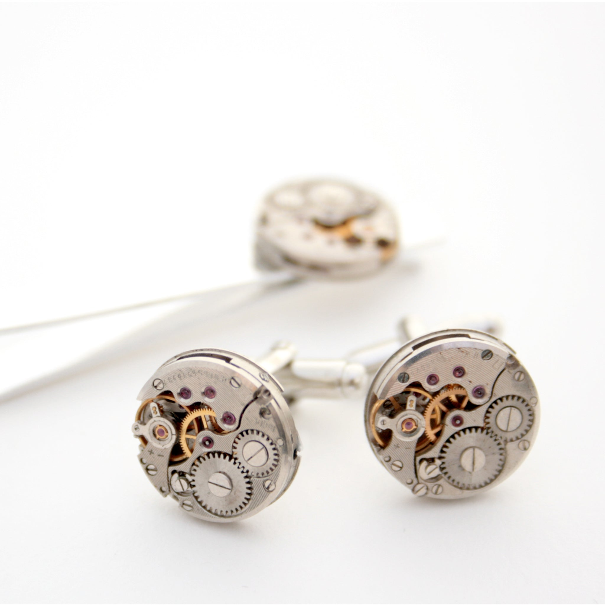 Tie Clip and Cufflinks with Steampunk Watch Movements