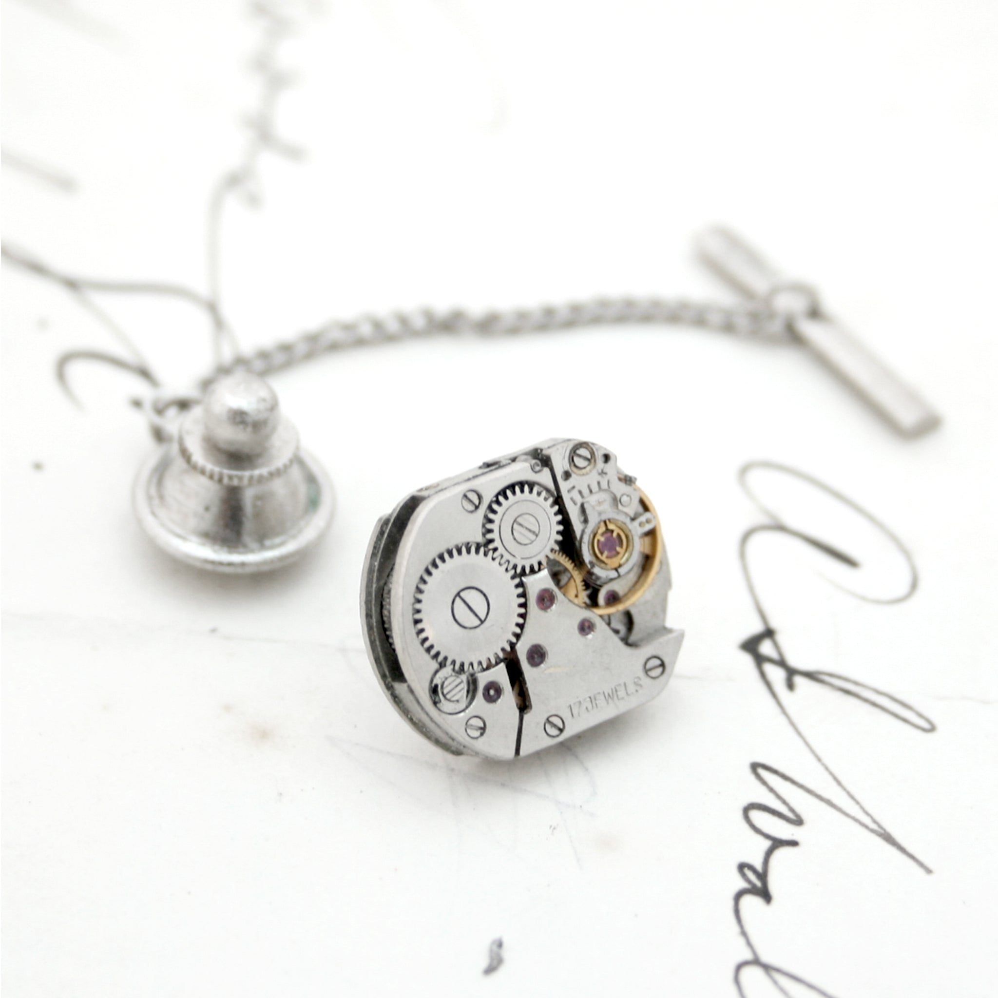 Steampunk Tie Tack made of watch mechanism