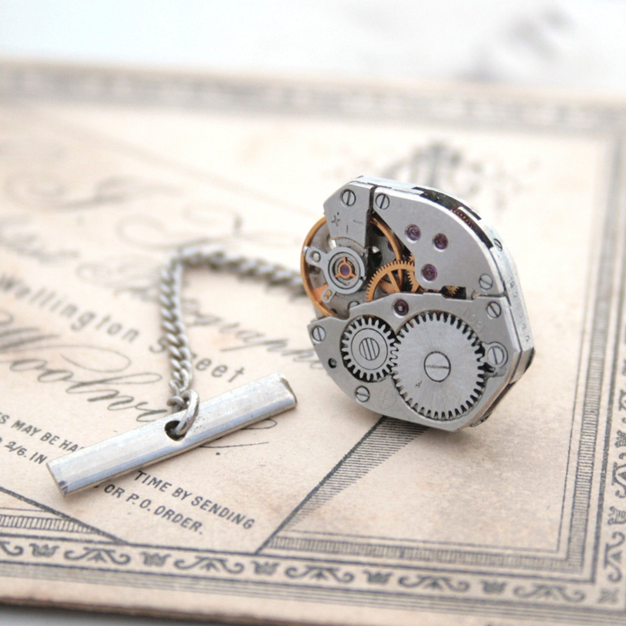 Steampunk Watch Movement Tie Tack for Dapper Man