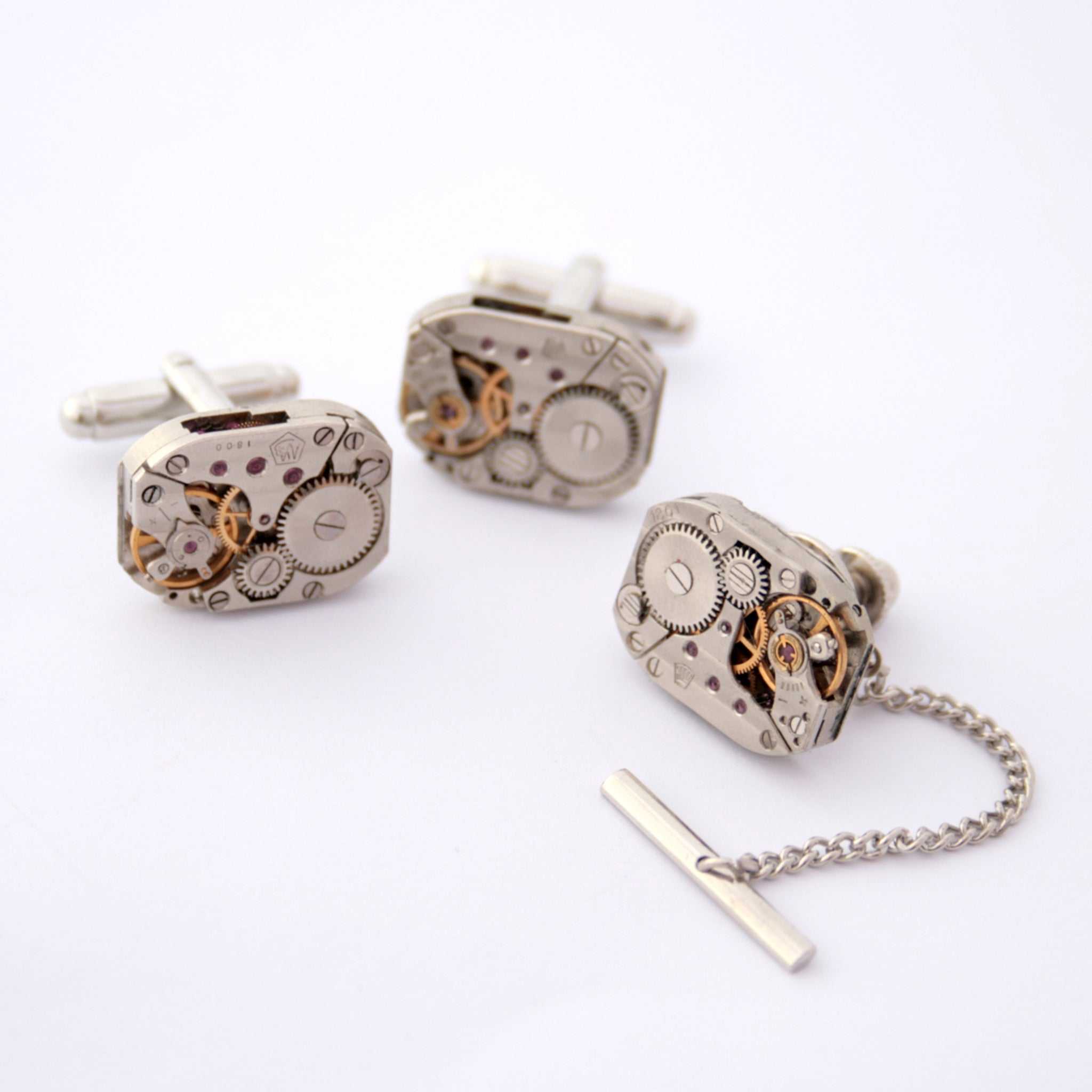 Steampunk Tie Tack and Cufflinks Set made of watch movements