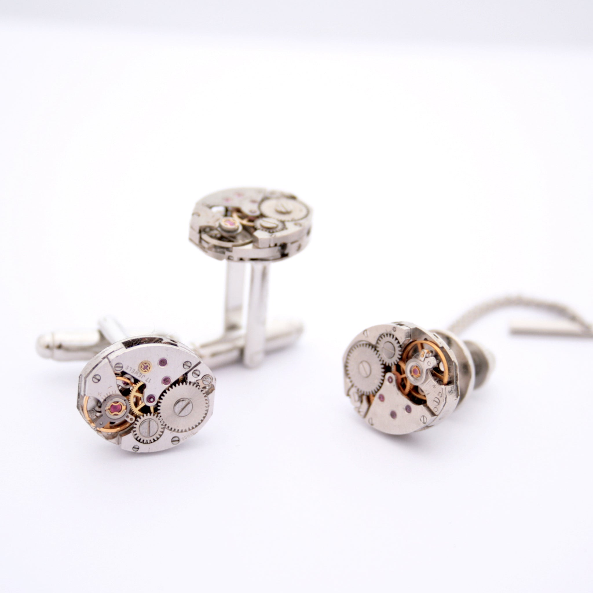 Tie Tack and Cufflinks featuring old clock parts