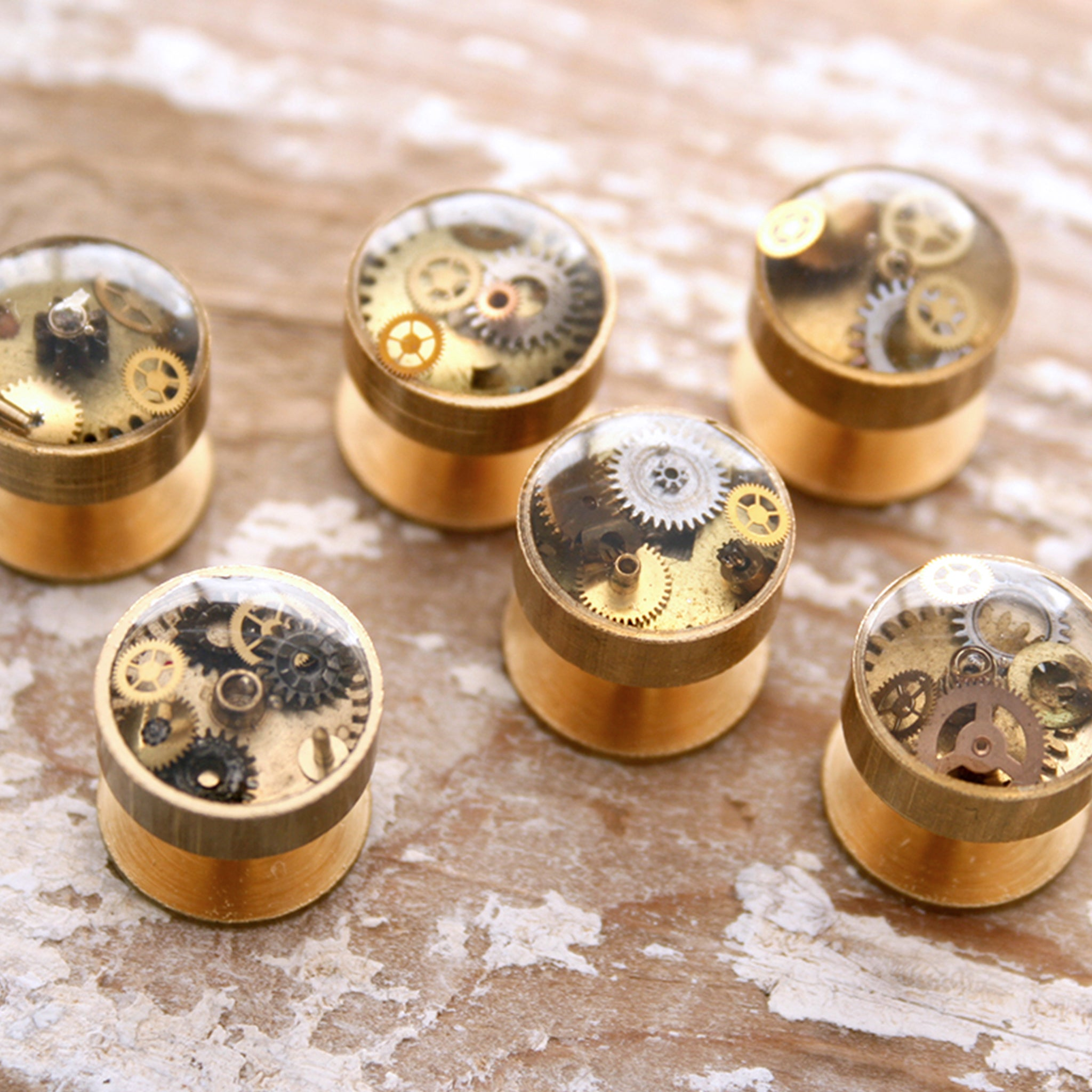 Brass Gold Tuxedo Studs Set filled with steampunk watch parts and resin