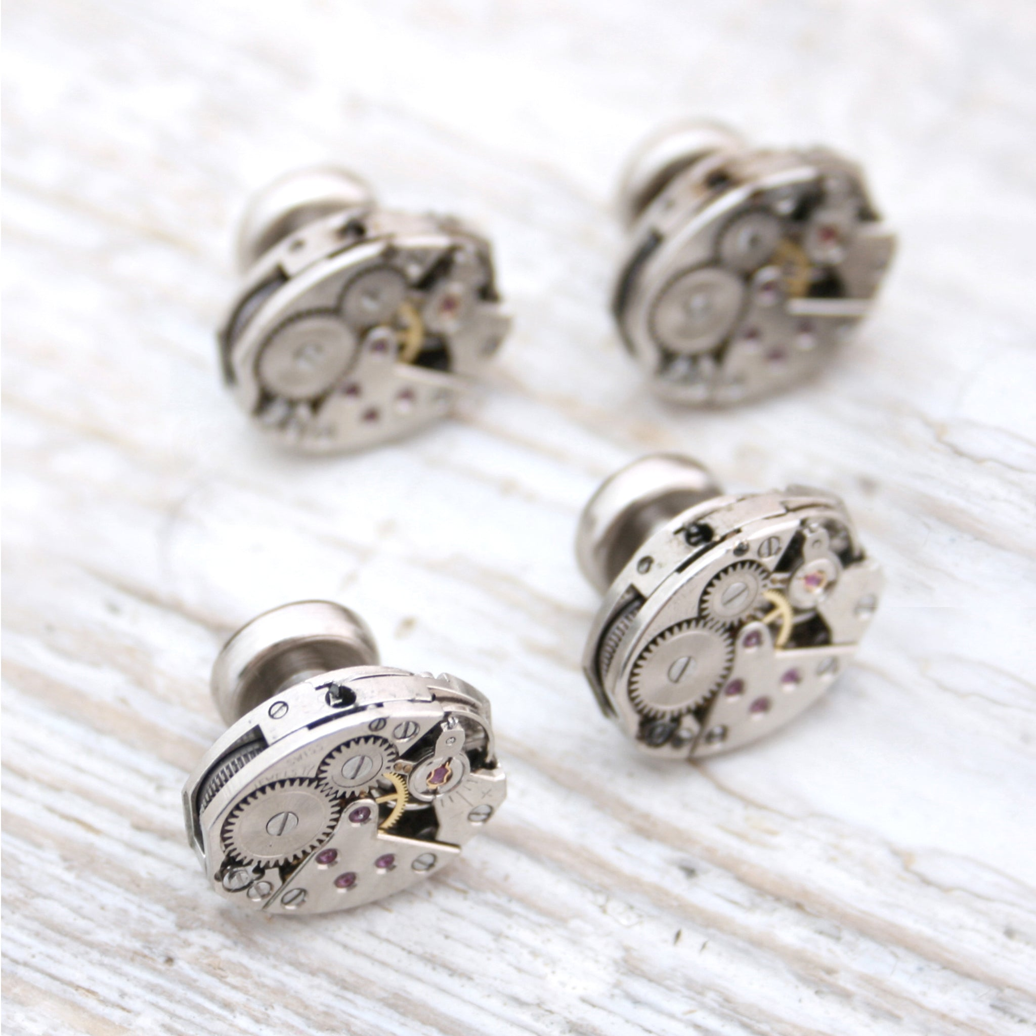 Set of four tuxedo studs made of real watch mechanisms