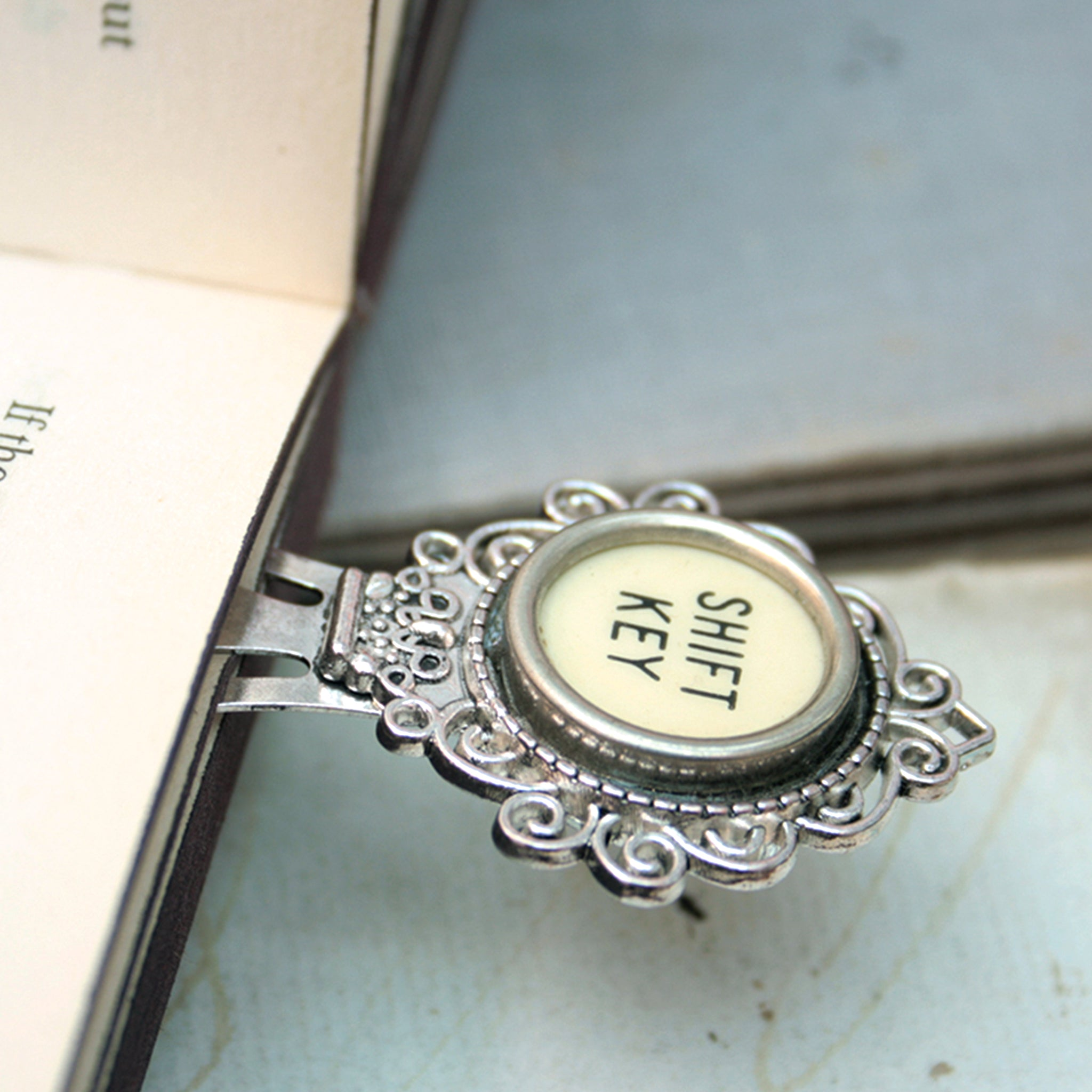 Shift Key metal bookmark for books - made of authentic vintage typewriter key in ivory color