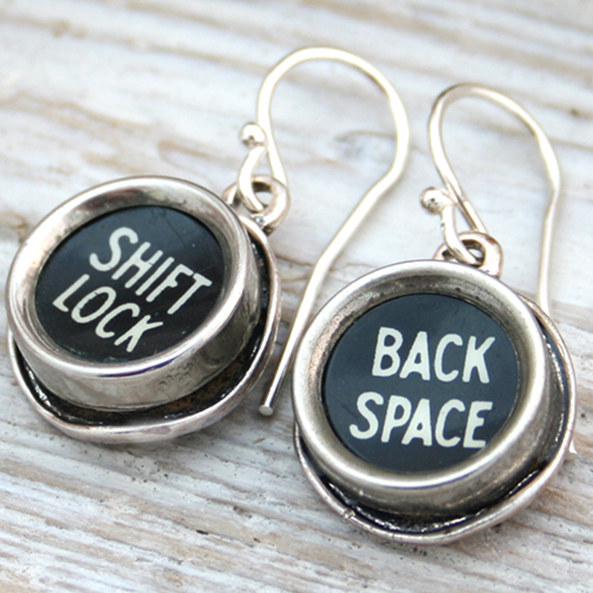 Typewriter keys Shift Lock and Back space earrings