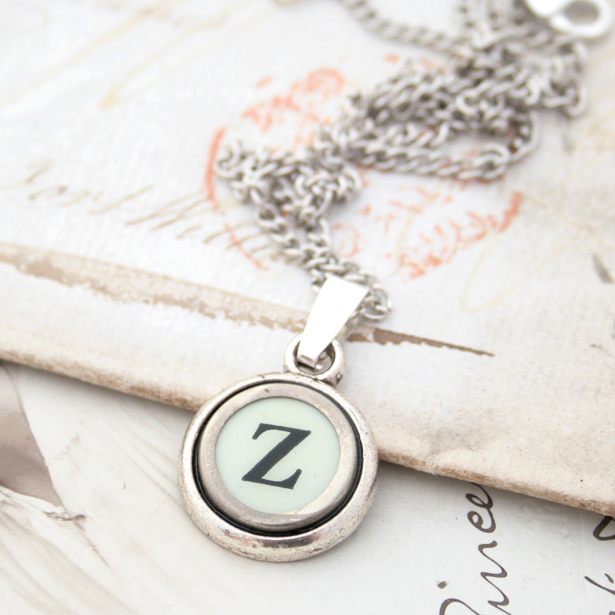 Ivory Z letter necklace made of typewriter key