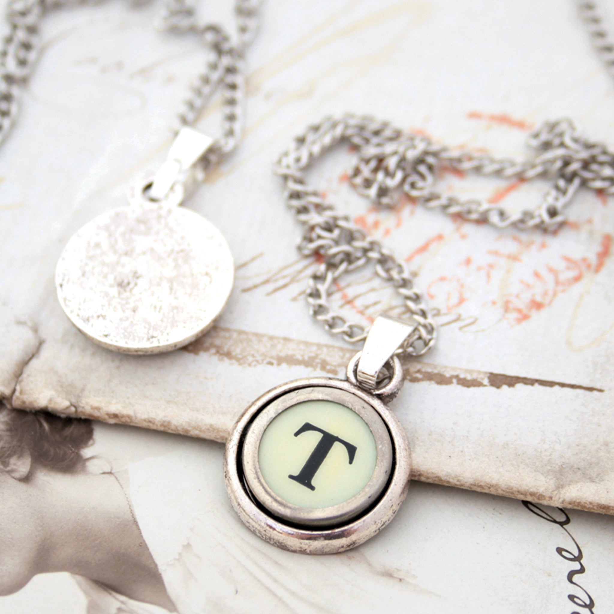Ivory T letter necklace made of typewriter key