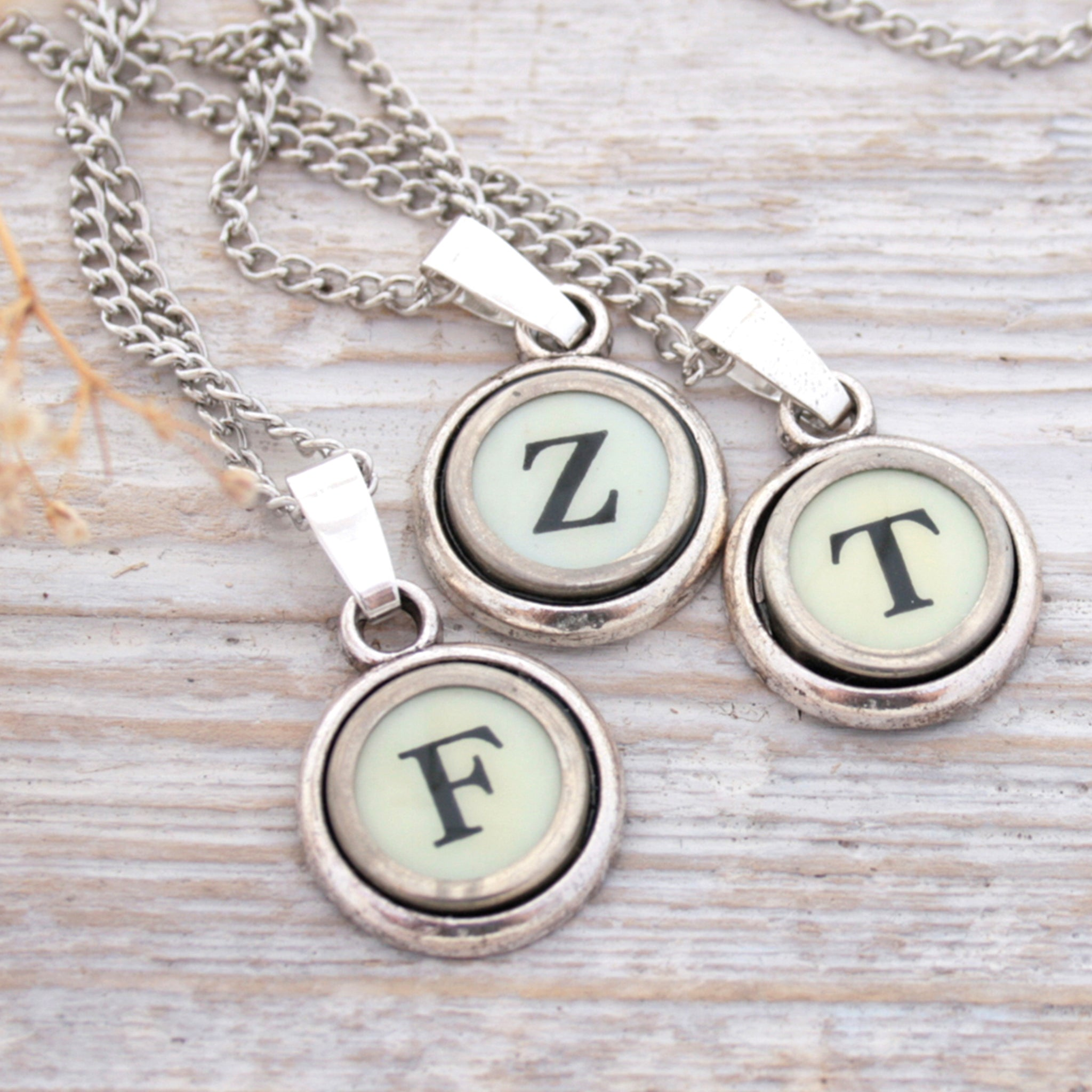 Ivory initial necklaces made of F, Z and T typewriter keys