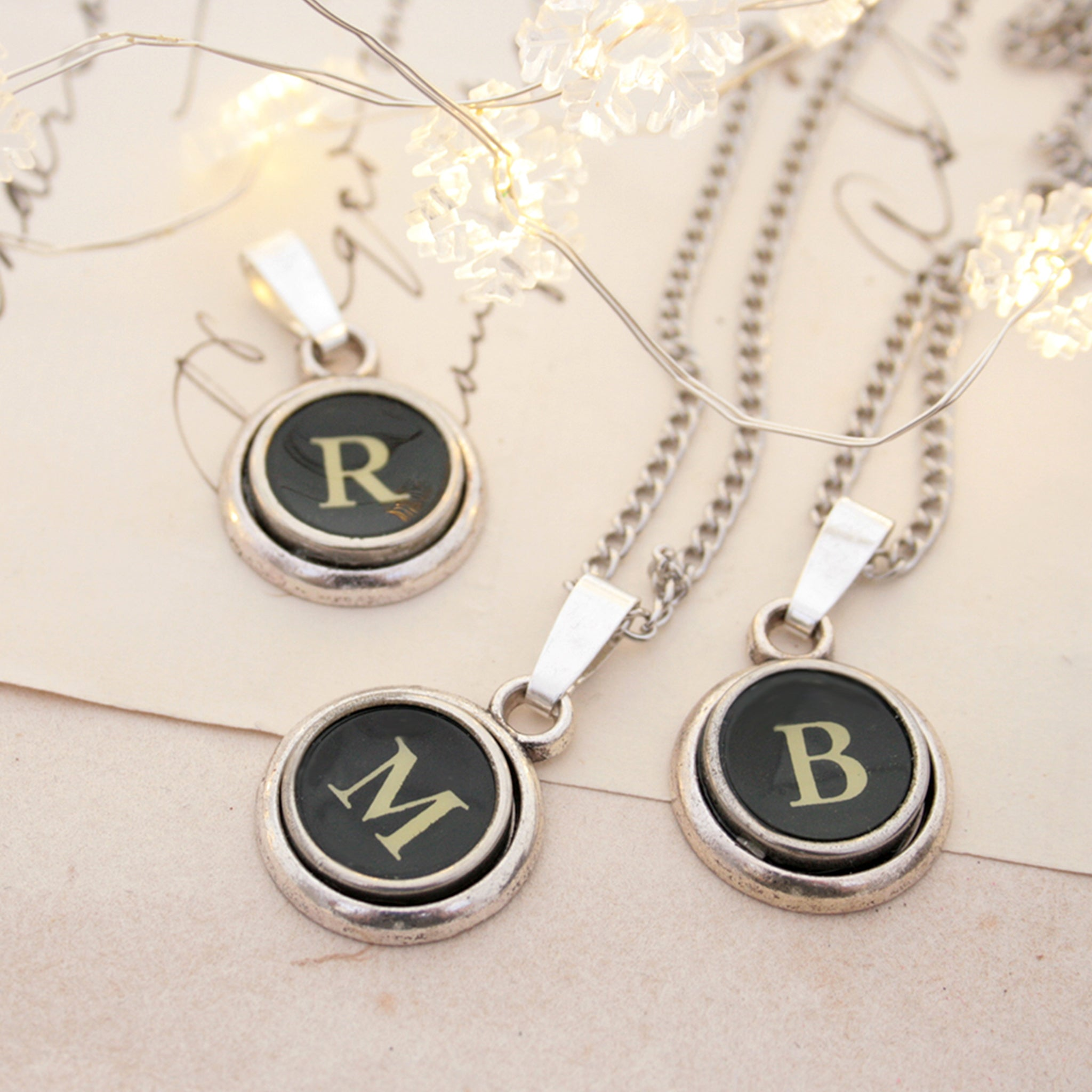 R letter, M letter, B letter typewriter necklaces made of real typewriter keys