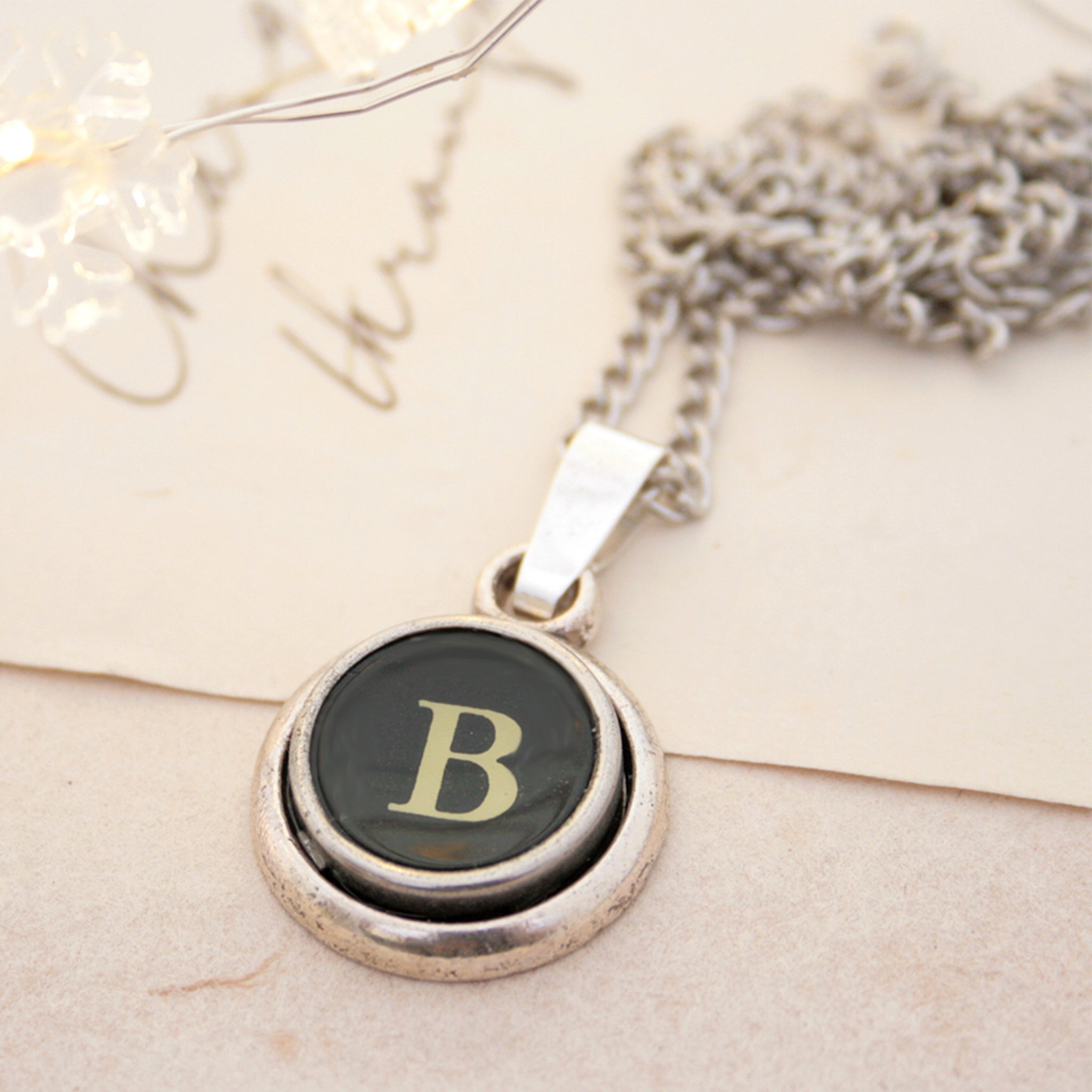 B letter typewriter necklaces made of real typewriter key